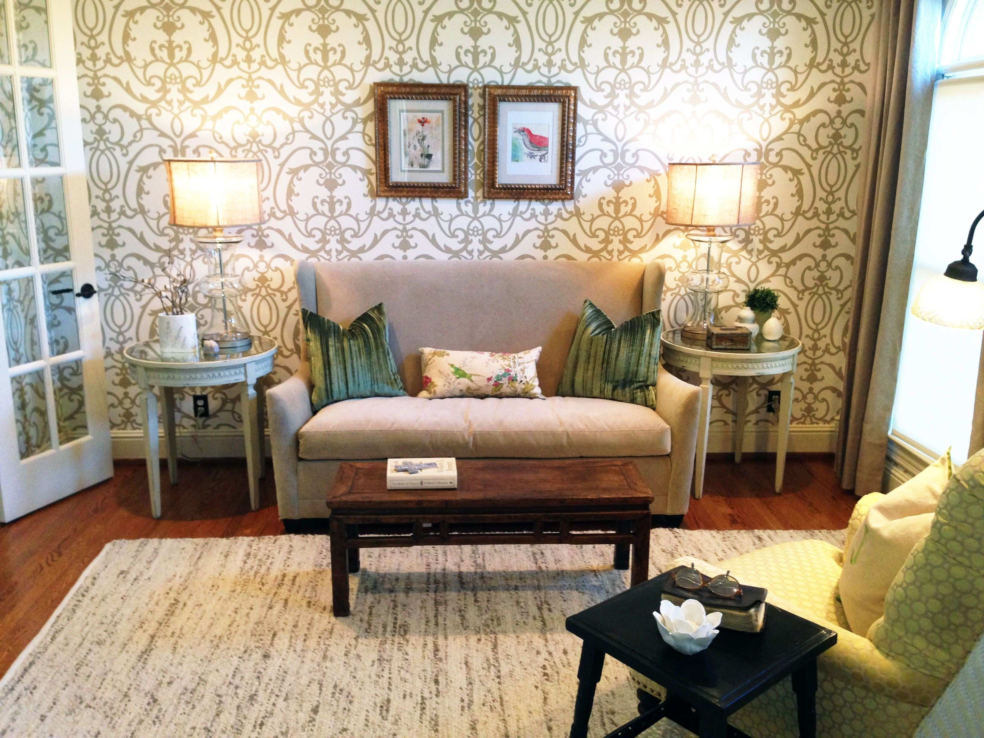 Small sitting room redesigned for client with large Albert Van Luit