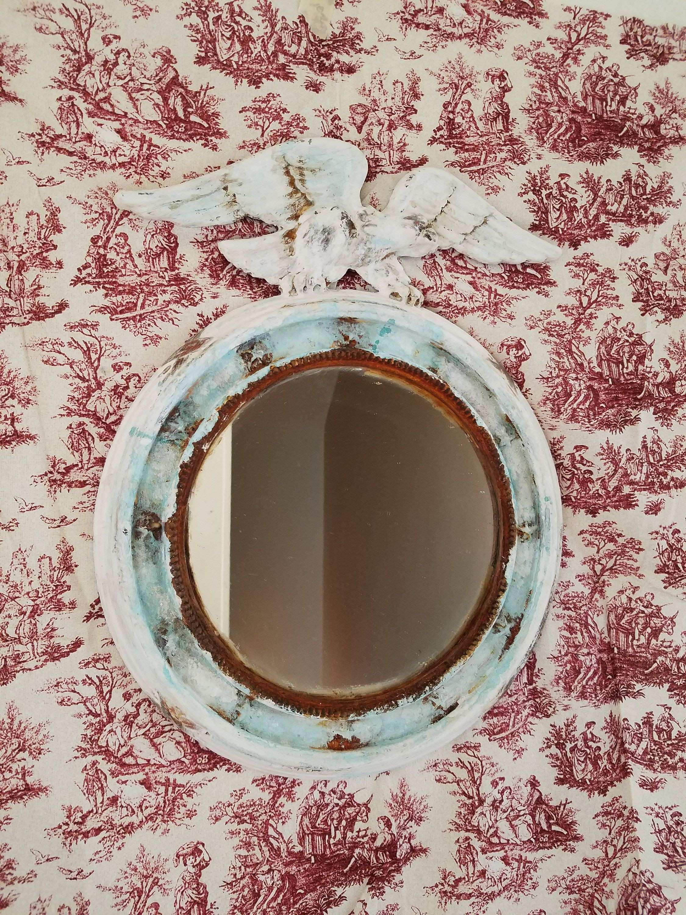 HAND PAINTED Federal style Small Round Mirror Metal Frame Wall Decor