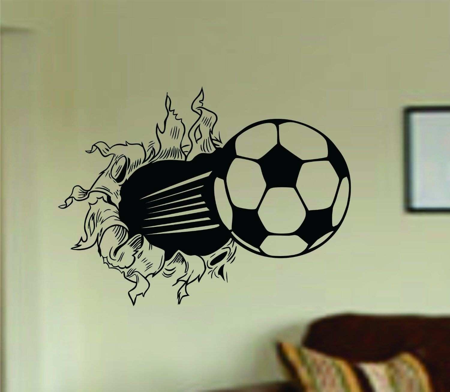 Soccer Wall Decals Best Of Amazon soccer Ball Bursting Through Wall Vinyl Wall Decal