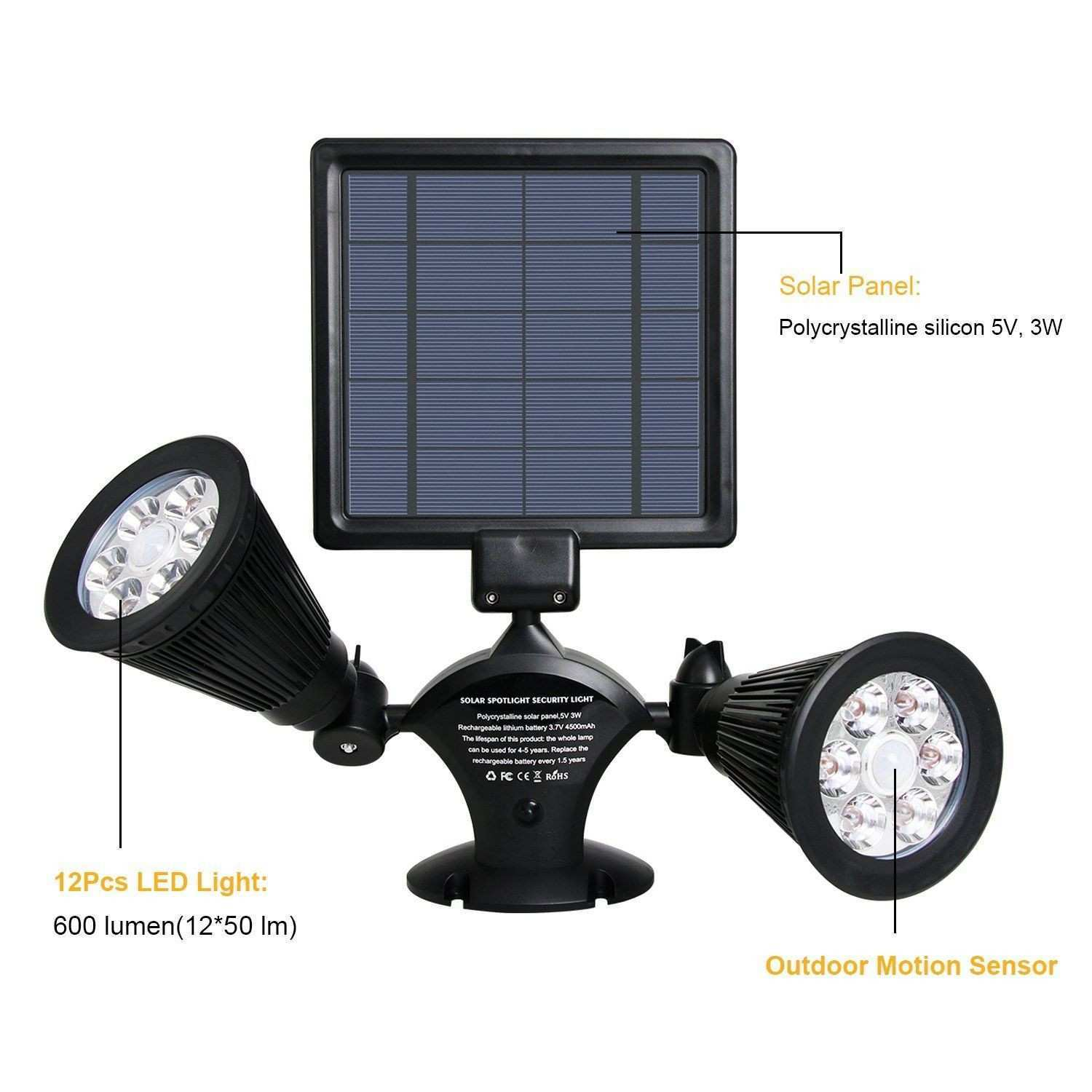 Solar Lights Outdoor 54 LED Super Bright Wide Angle Solar Powered