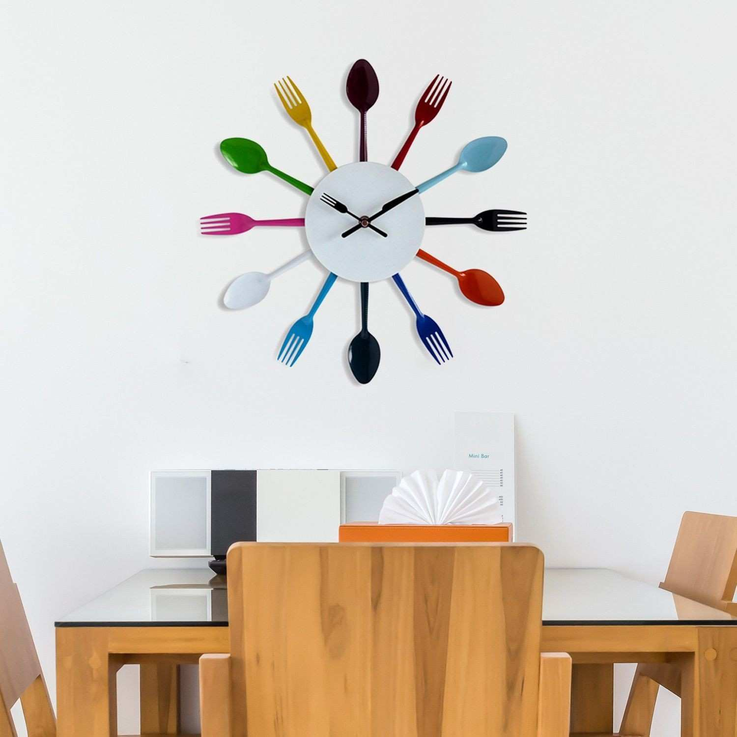 Clock Style and Design for Kitchen Decoration Colorful Stainless
