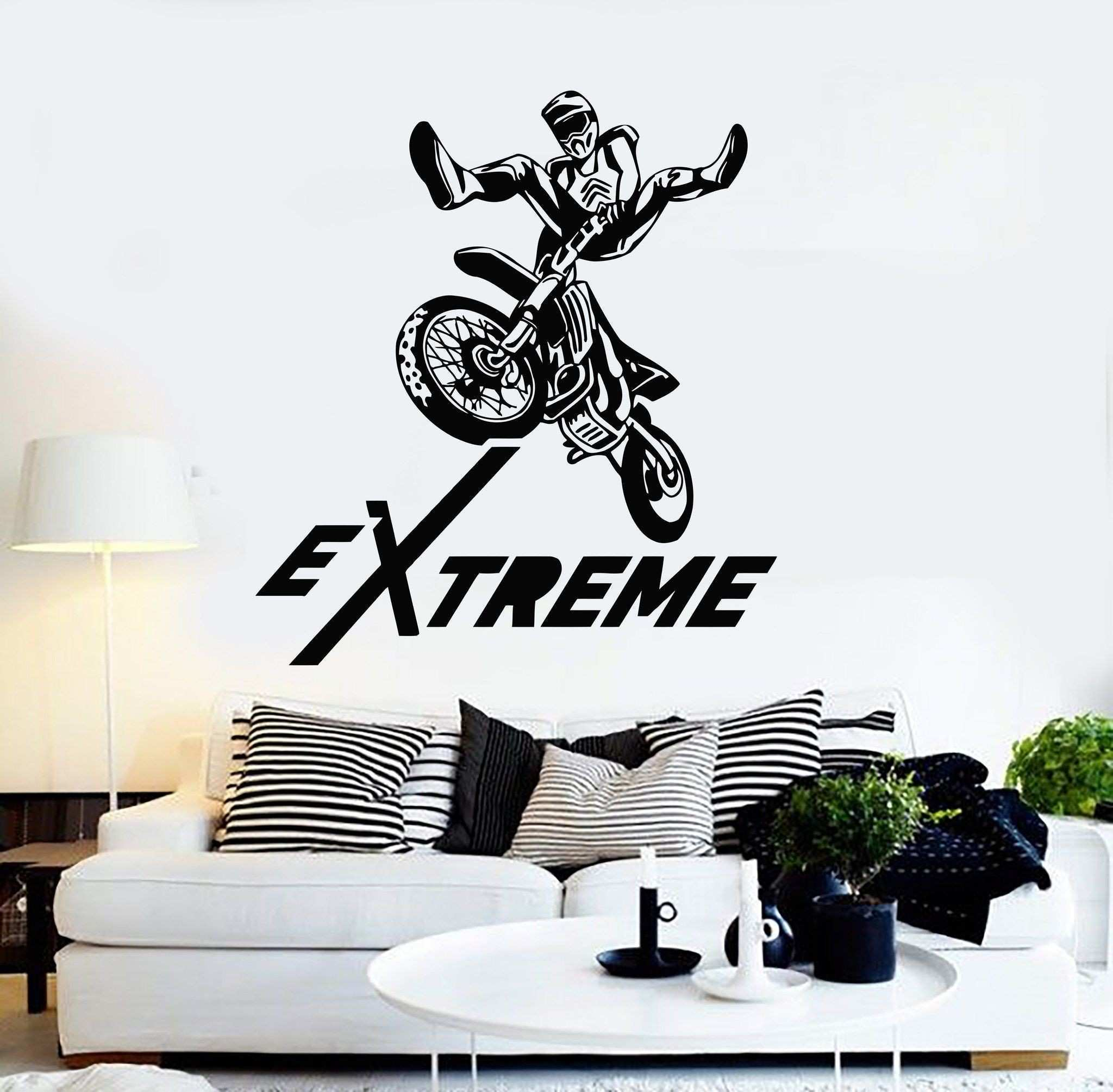 Vinyl Wall Decal Extreme Motorcycle Sport Races Trials Freestyle