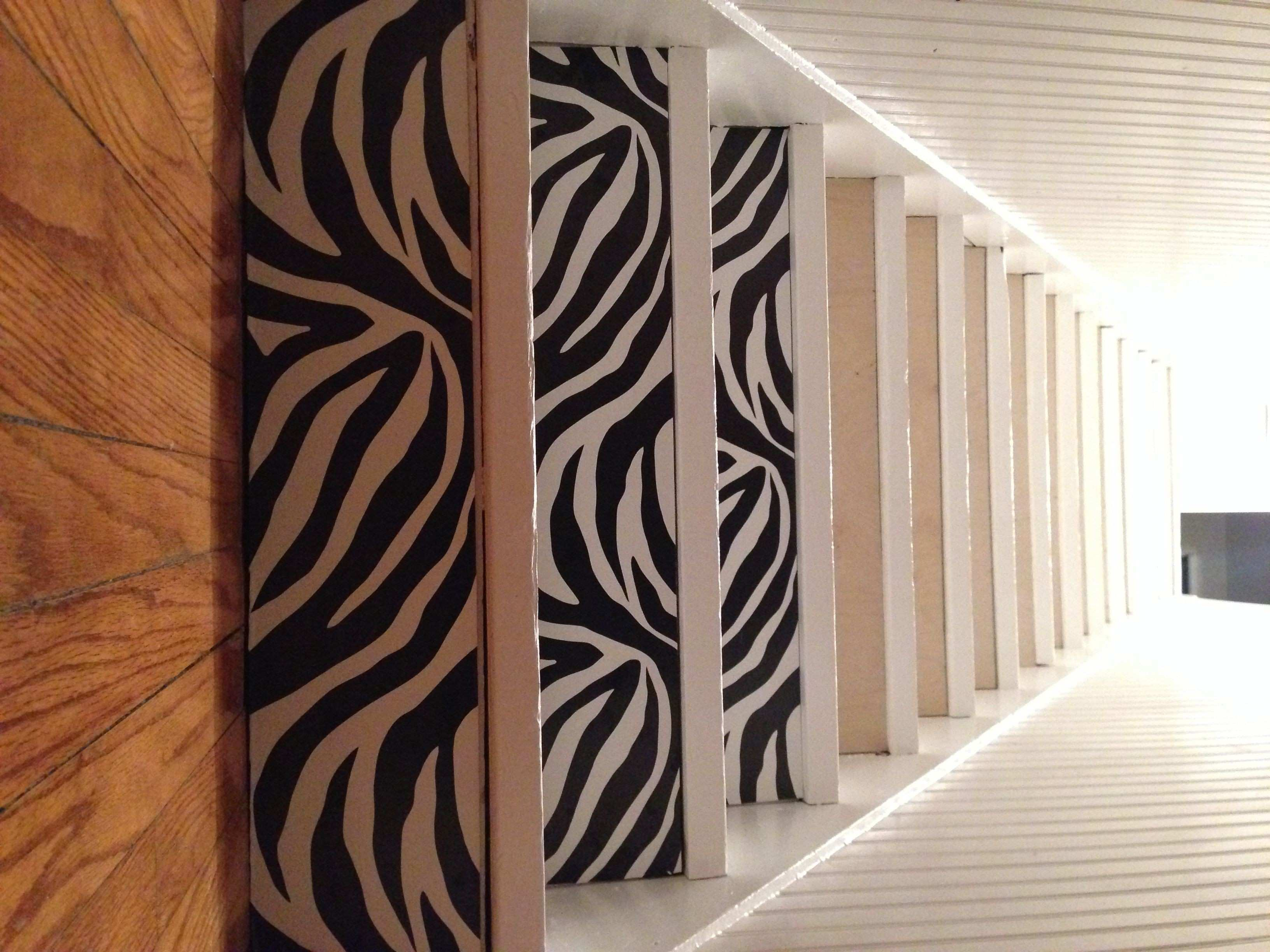 """We applied 1 4"""" birch wood to risers to fill in the gaps Then"""