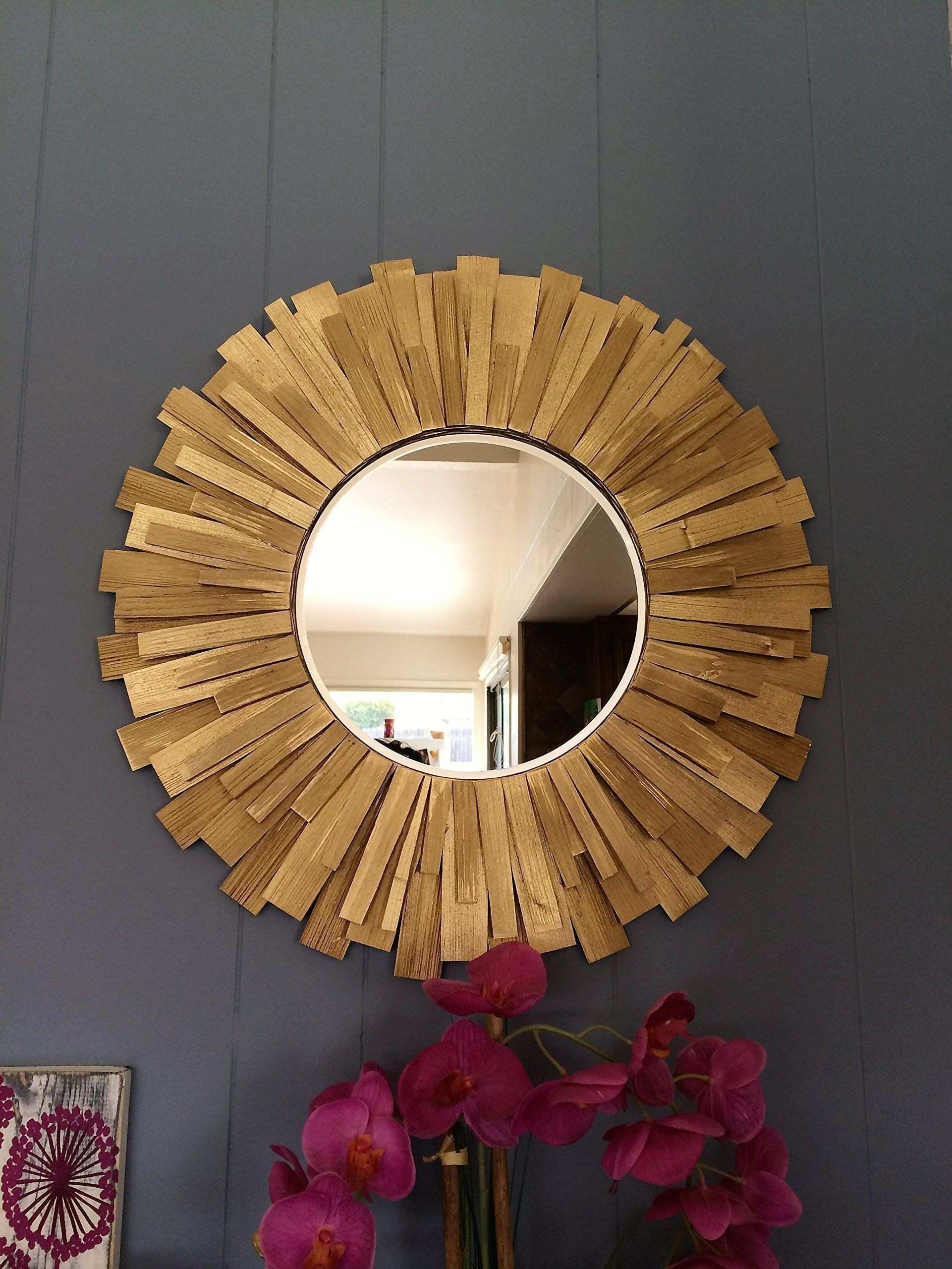 "Sunburst Round Handmade Wall Mirror Gold 24"" Handmade Features"