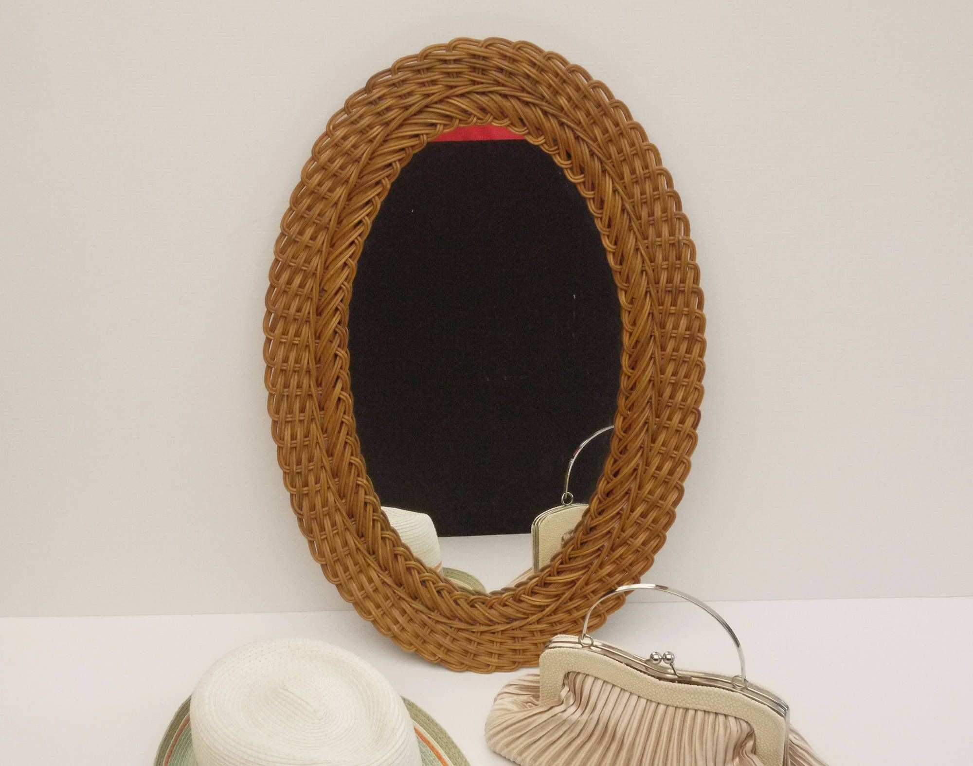 Vintage French Oval Shaped Rattan Mirror Wicker Sunburst Mirror