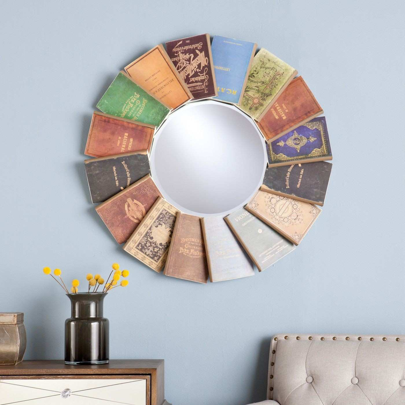 Decorations Wildon Home Rowan Round Decorative Book Wall Mirror