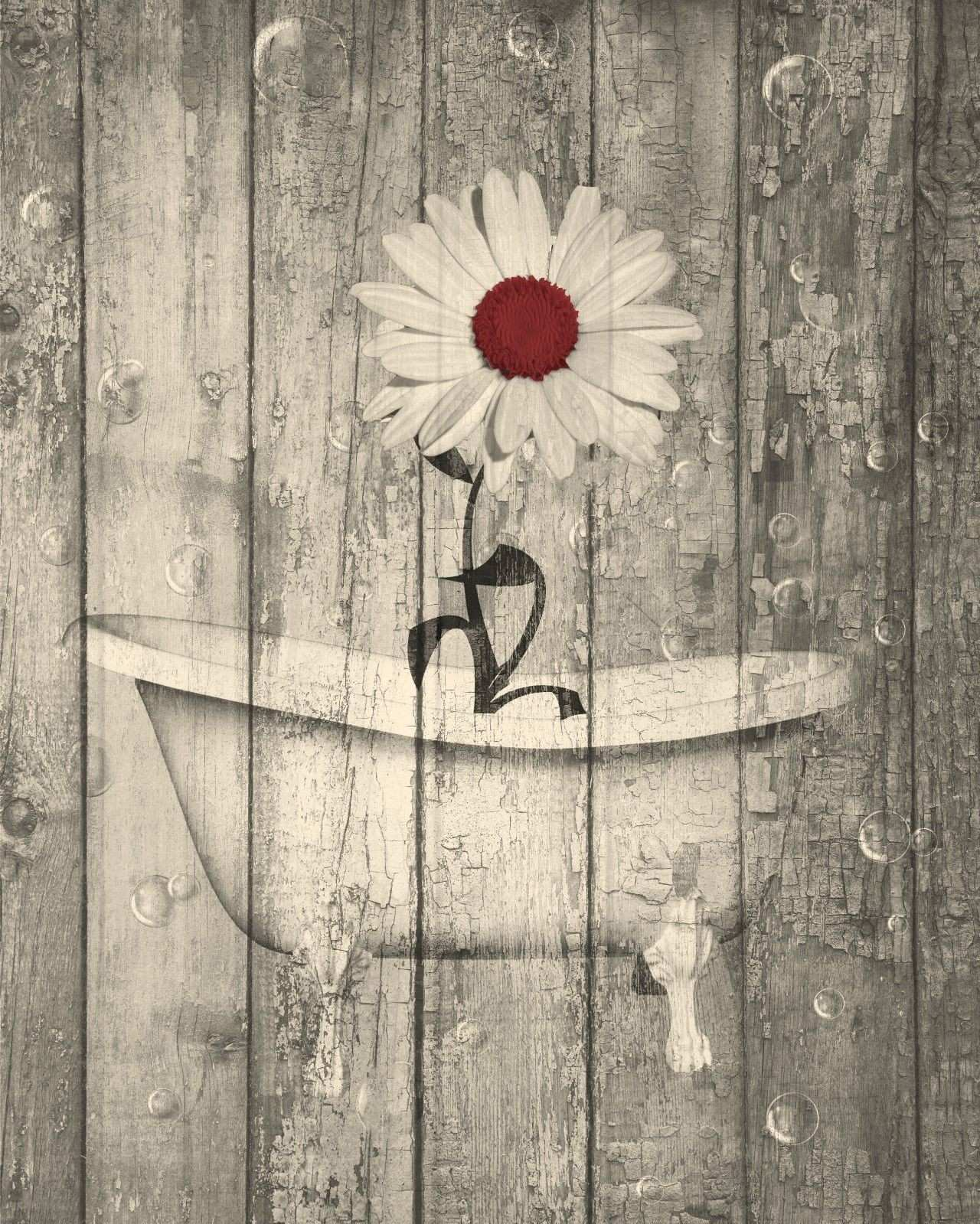 Rustic Dark Red Brown Daisy Flower Bathroom Home Decor Matted Wall