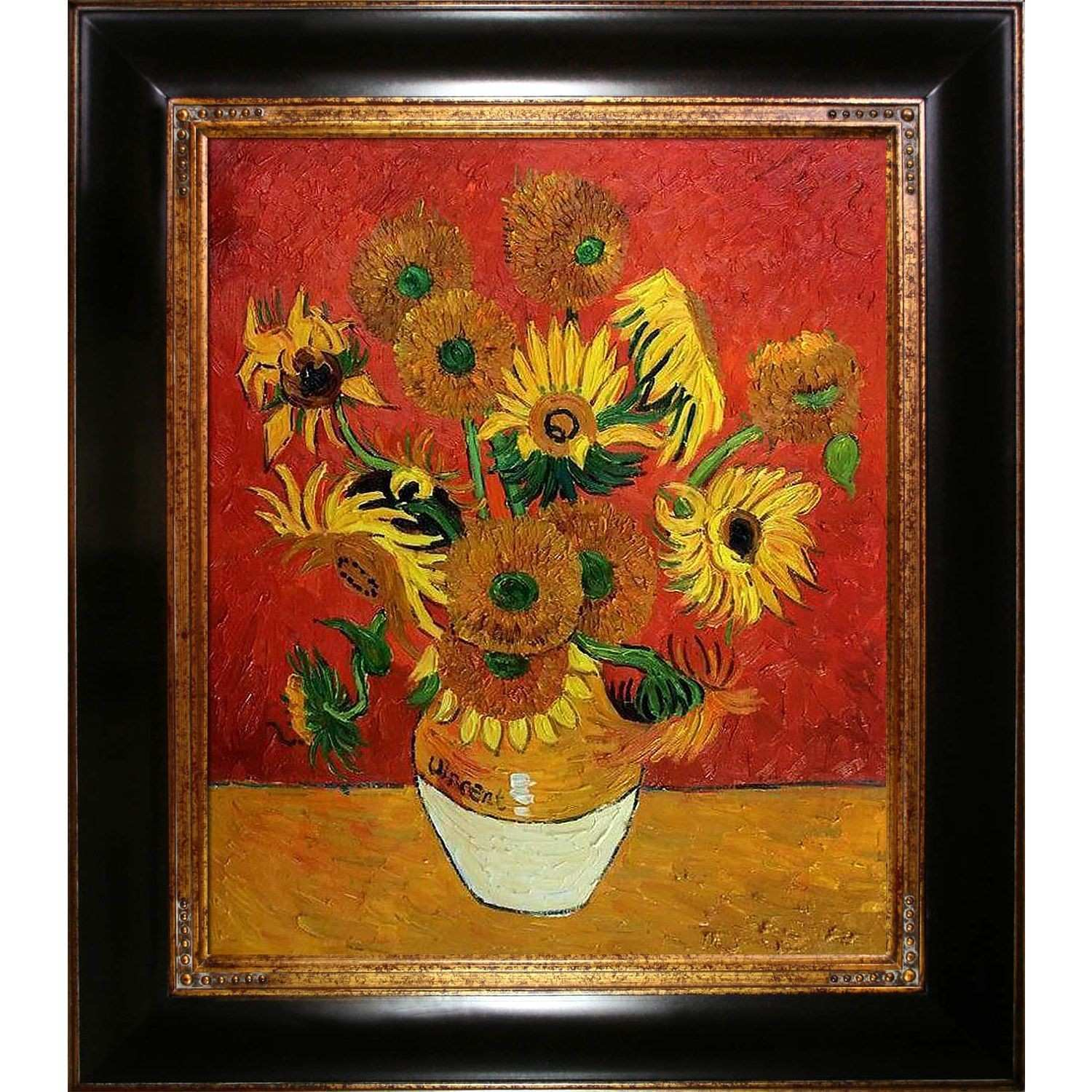 La Pastiche Original Sunflowers Red Hand painted Framed Canvas