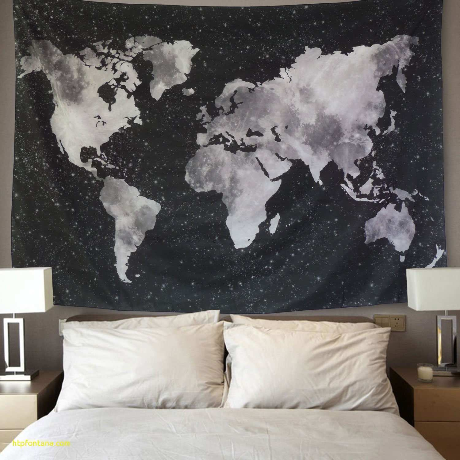 Living Room Wall Decor Map Luxury Starry World Tapestry Black White