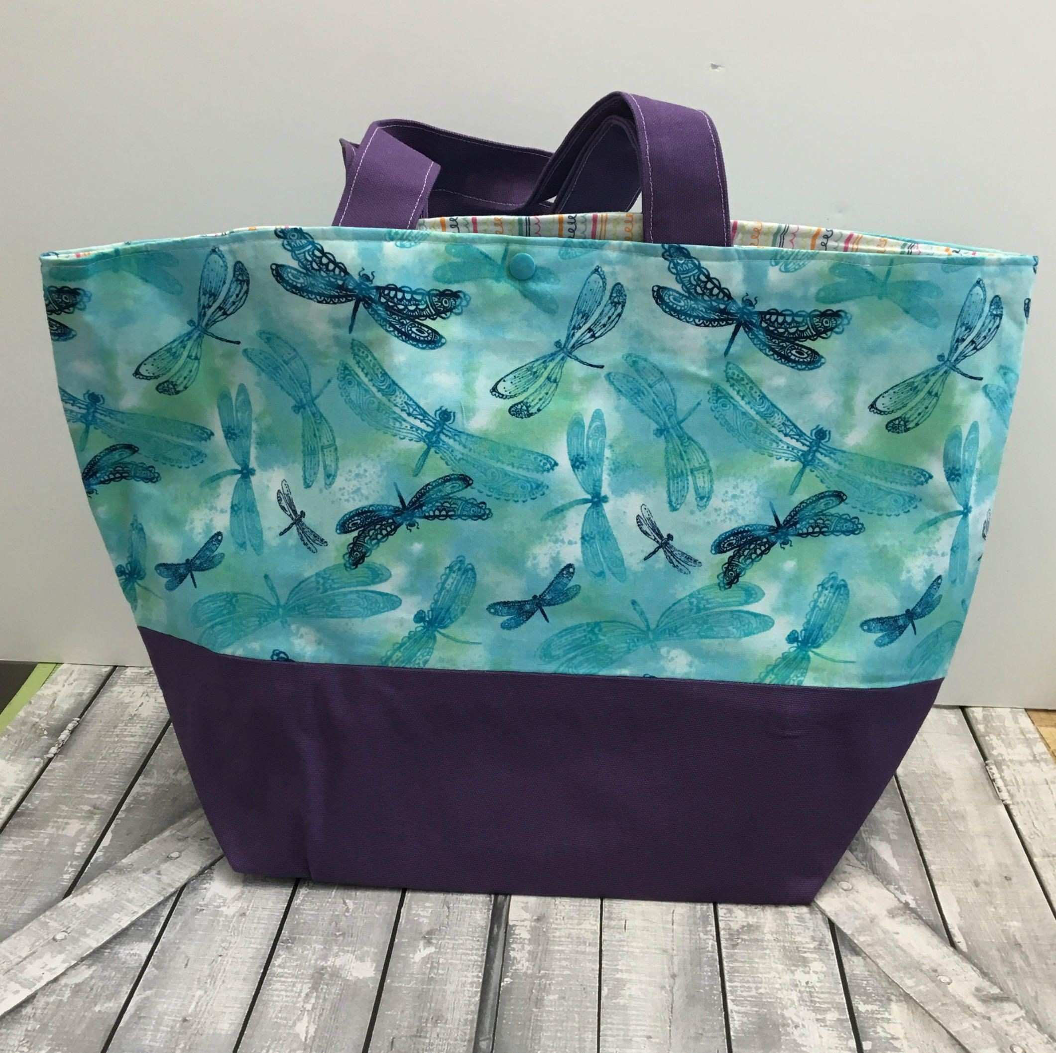 Dragonfly Canvas Tote Bag Blue Dragonfly Tote Canvas Tote Bag