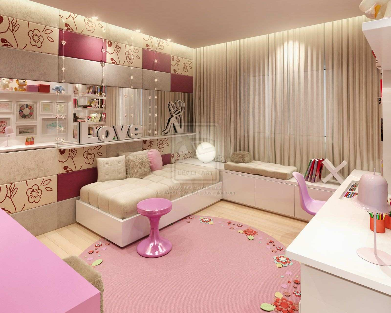 Gorgeous And Simple Teen Girls Bedroom Designs Placement