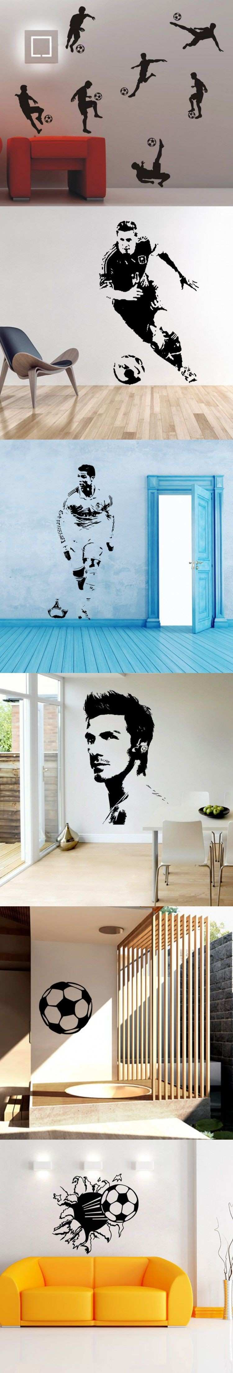 Soccer Football and Famous Soccer Players Wall Stickers Home Decor
