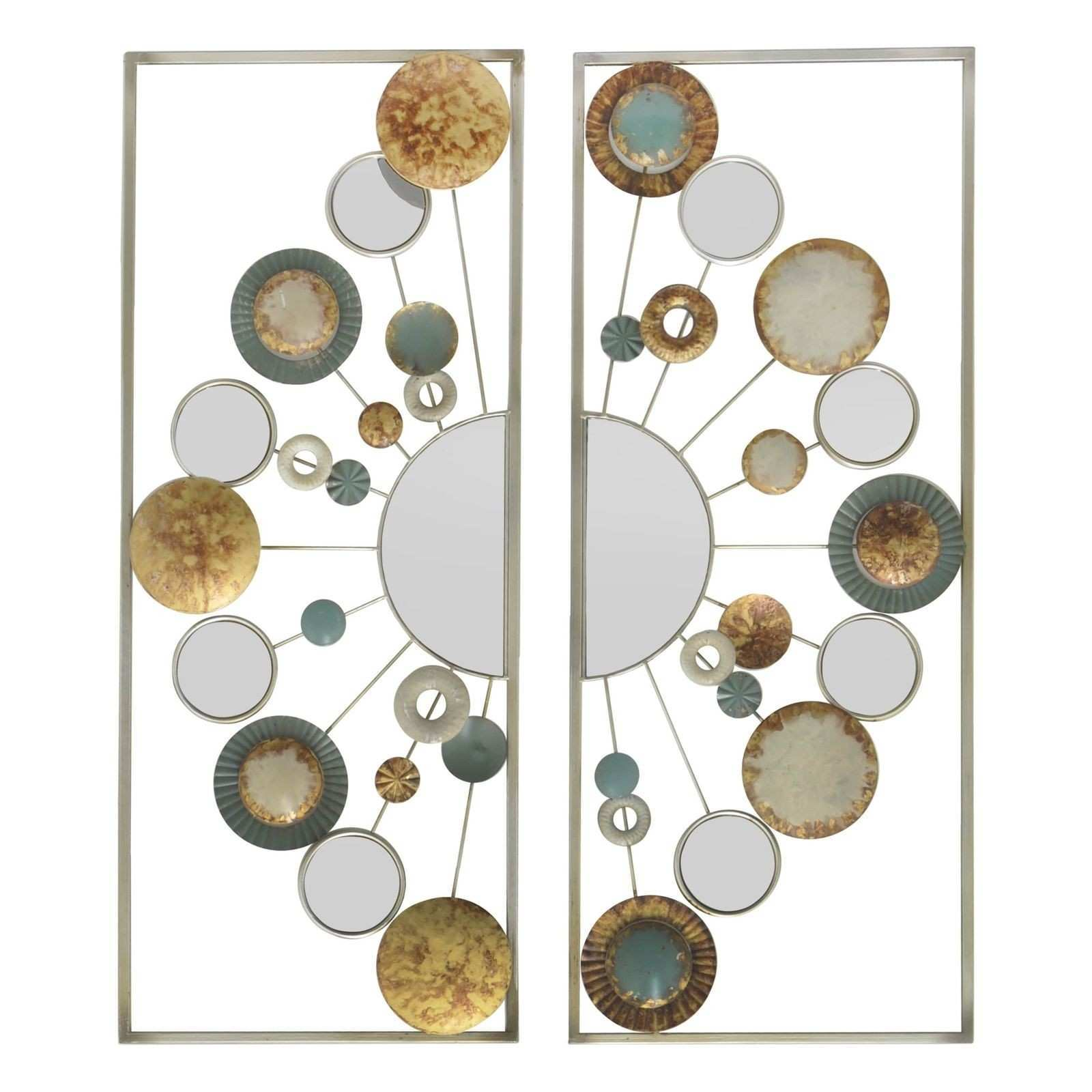 Three Hands Multi colored Panel OD Circles Metal Wall Decor