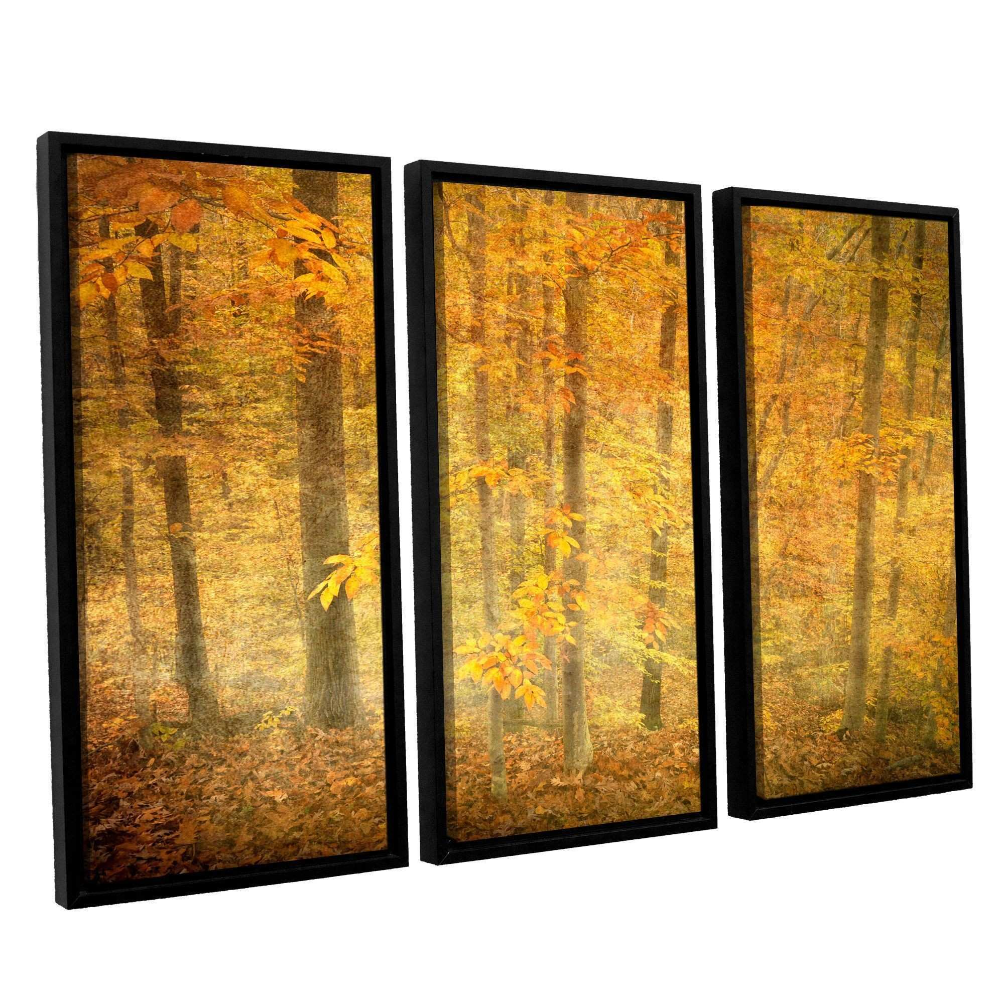 Lost In Autumn by David Kyle 3 Piece Floater Framed Canvas Set