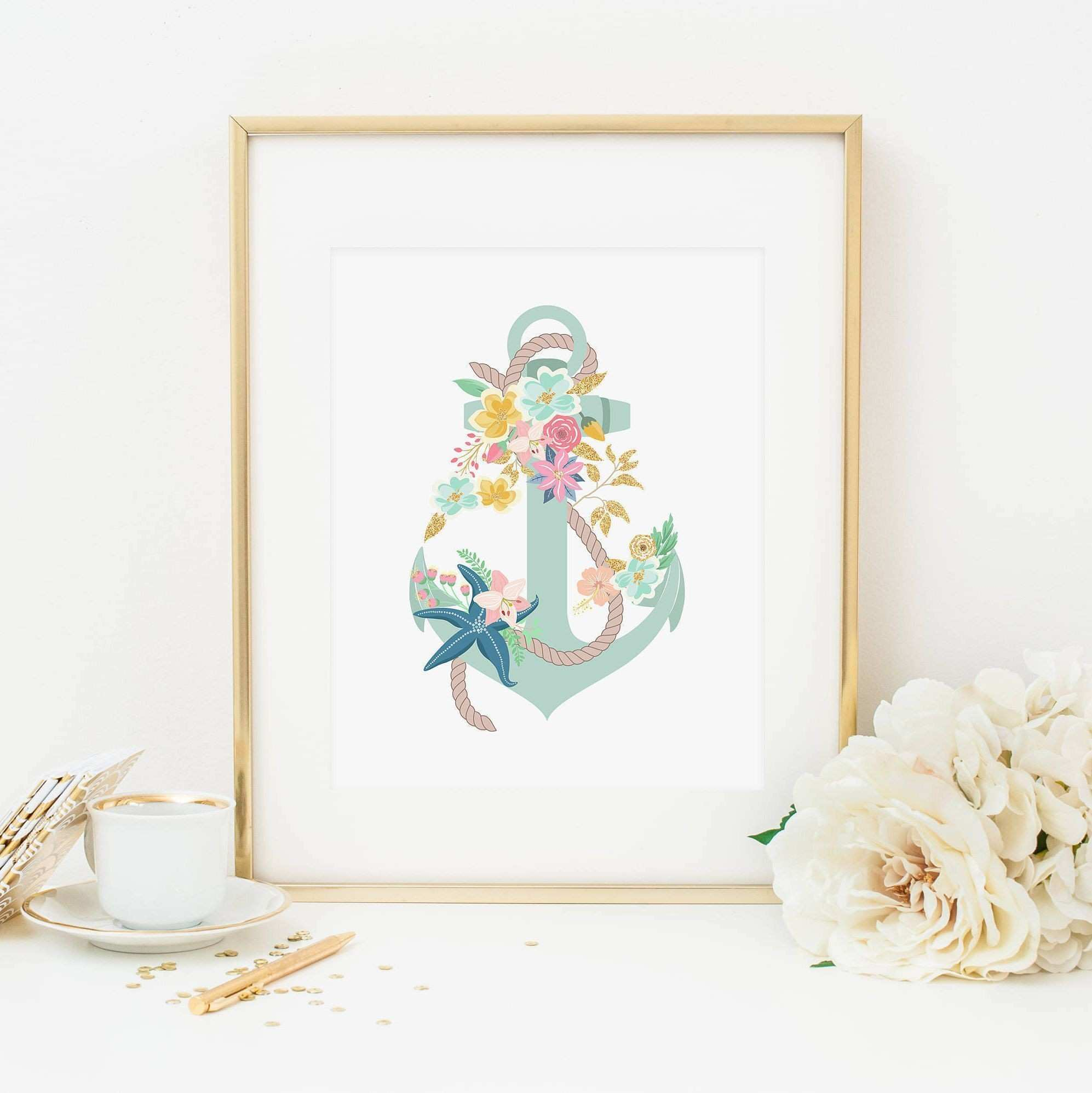Anchor Printable Nursery Mermaid Decor Aqua Floral Anchor Wall Decor