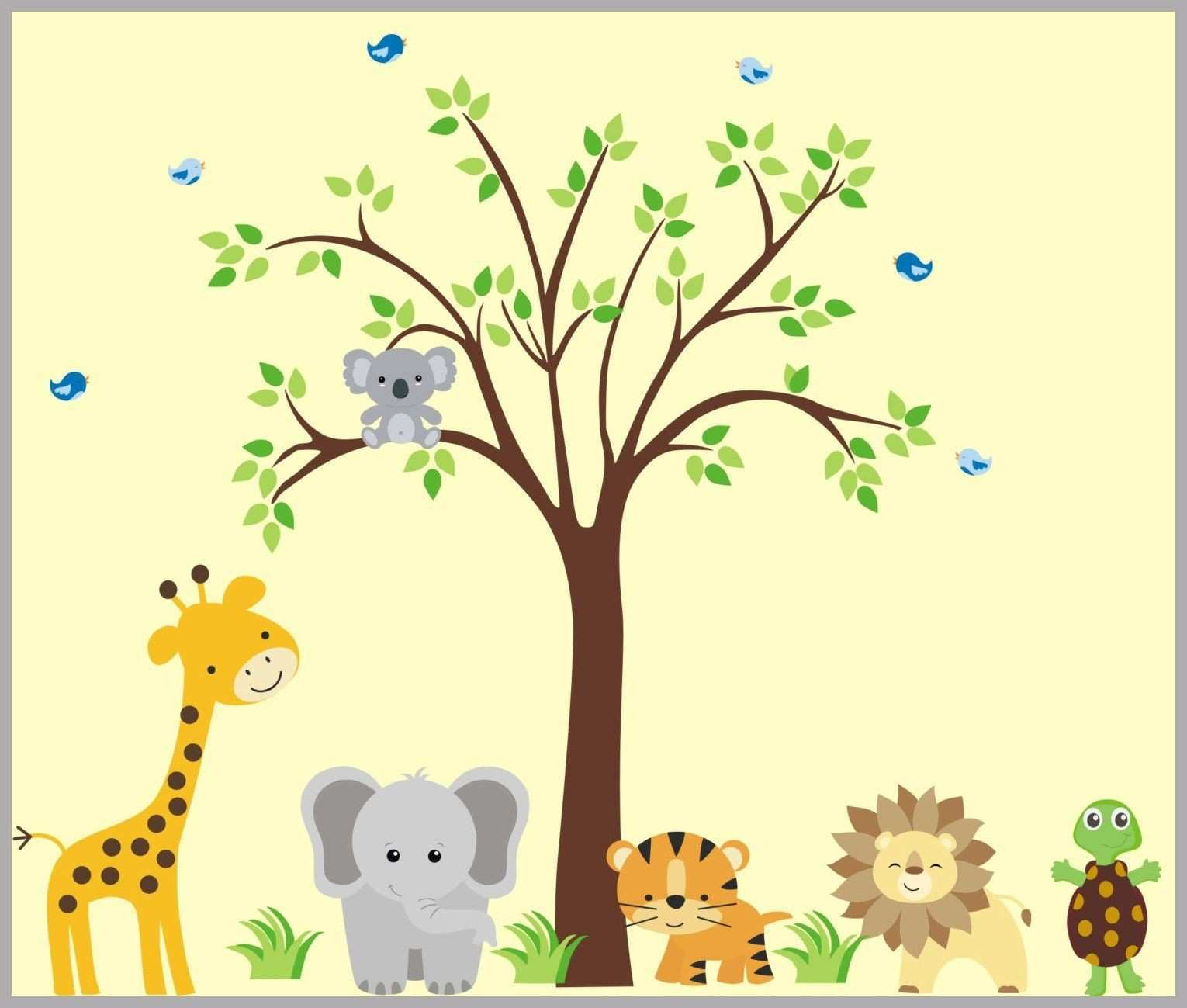 Jungle Animals with Cuddly Koala Bear Nursery Wall Decals Animal