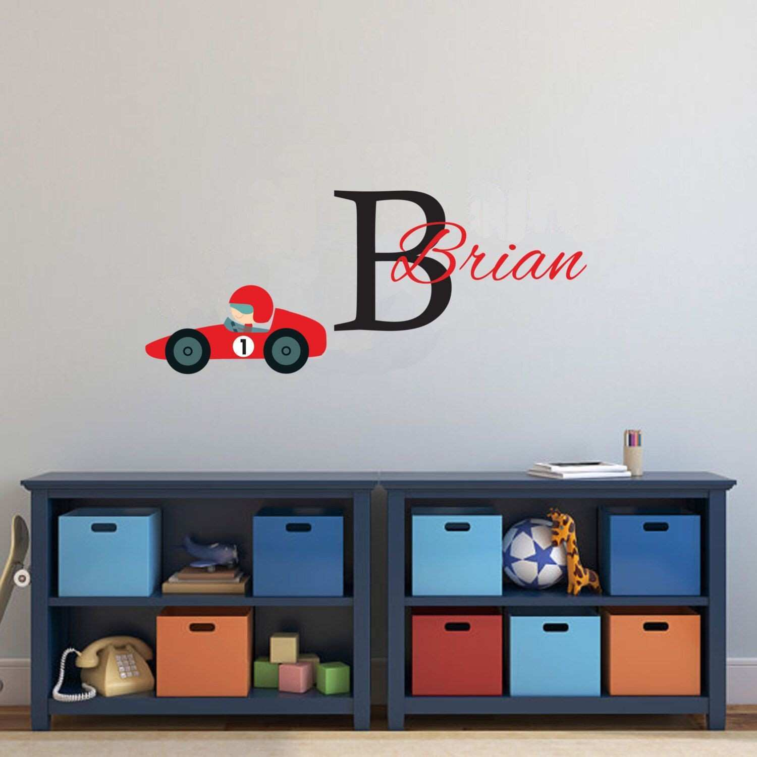Personalized Race car Decal for Boys Monogram Removable Wall