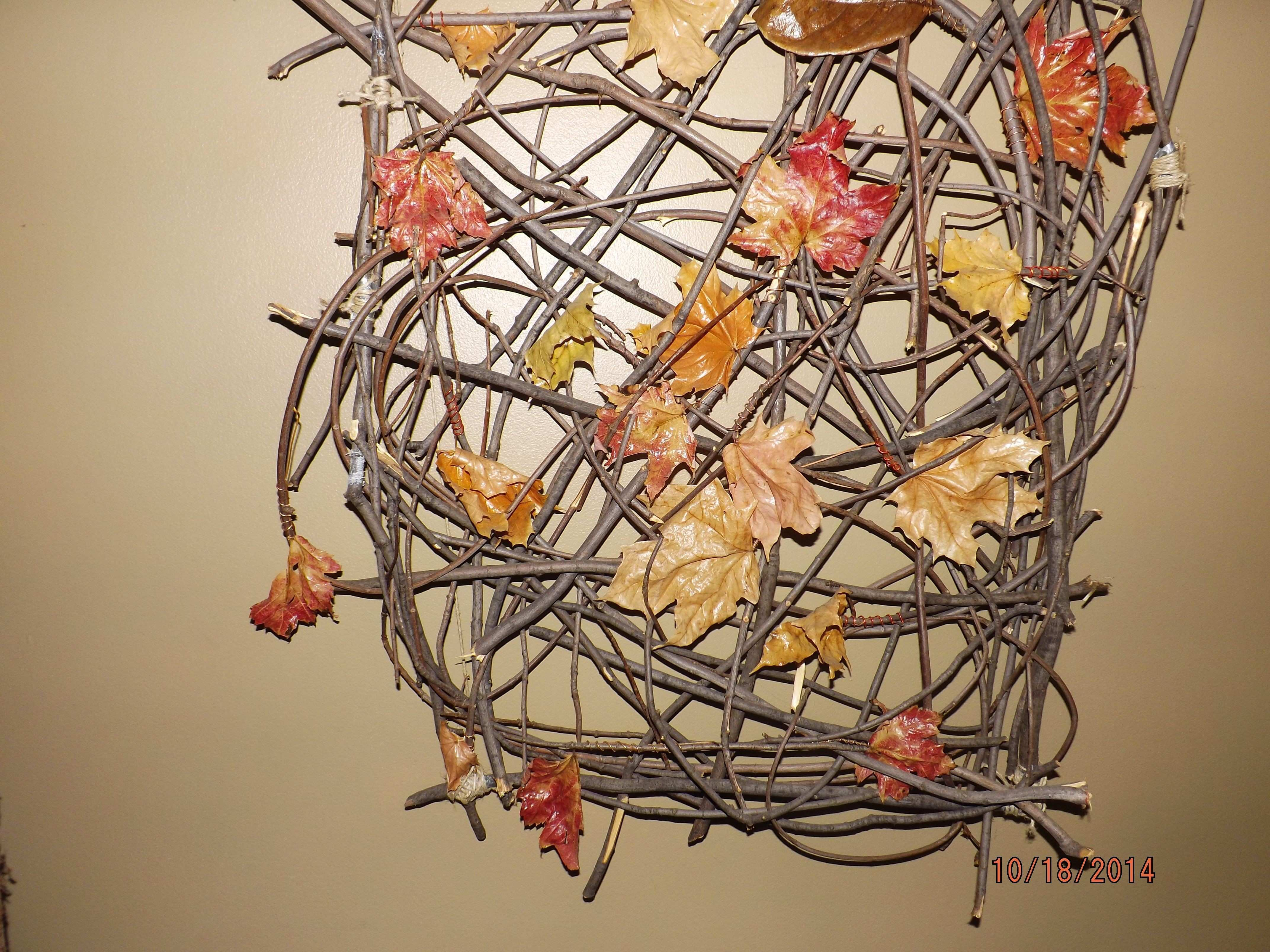 Tree Branch Art Beautiful Fall Wall Art Made From Fall Leaves and Twigs From A Downed Tree