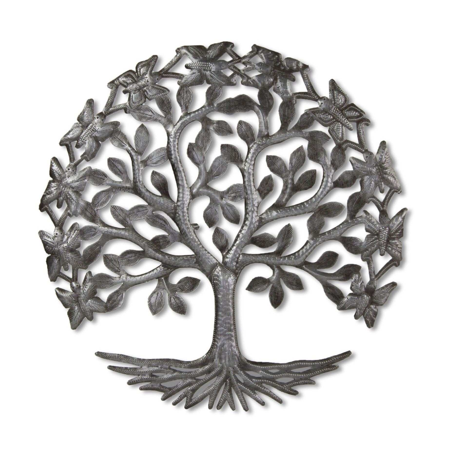 15 inch Tree of LIfe with Butterflies Recycled Metal Wall Art