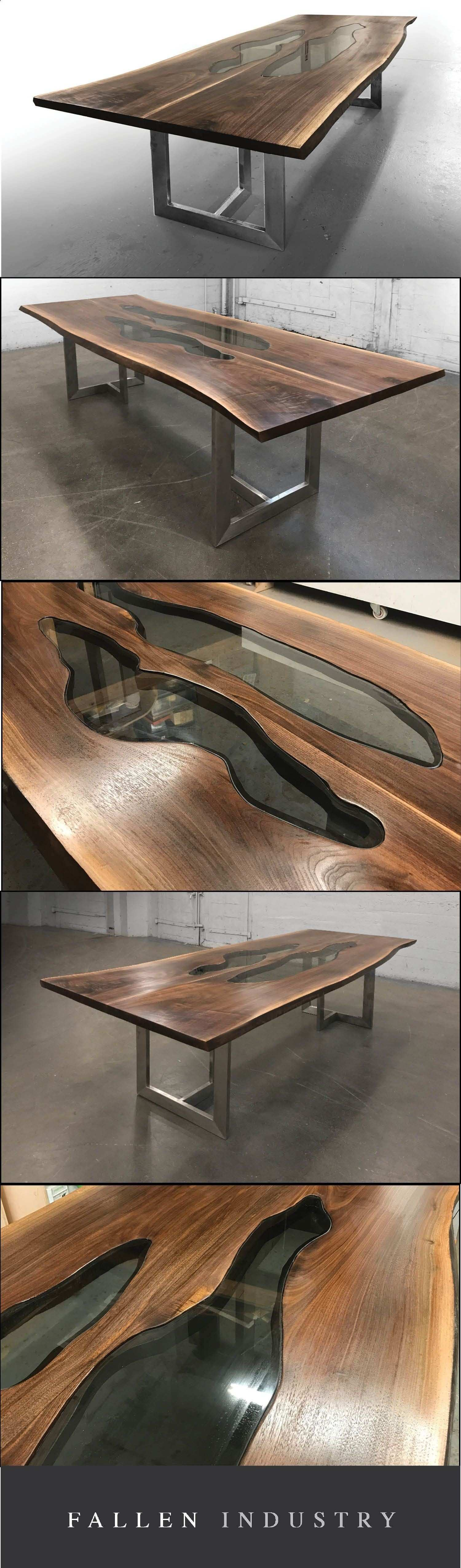 Teds Wood Working Live edge walnut slab table with glass inlays