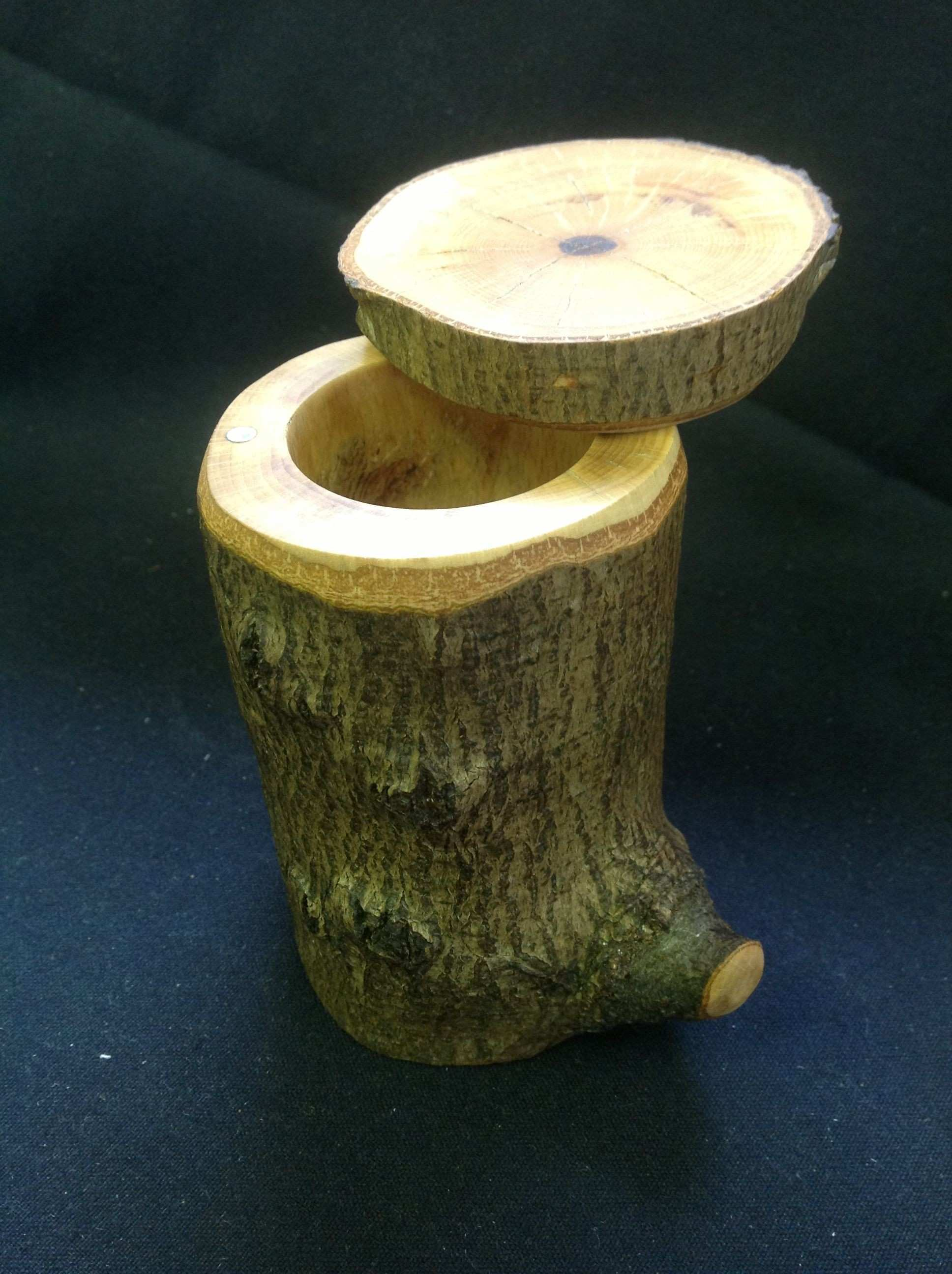 Sugar Maple Tree Stump Jewelry Box The lid attaches and swivels on