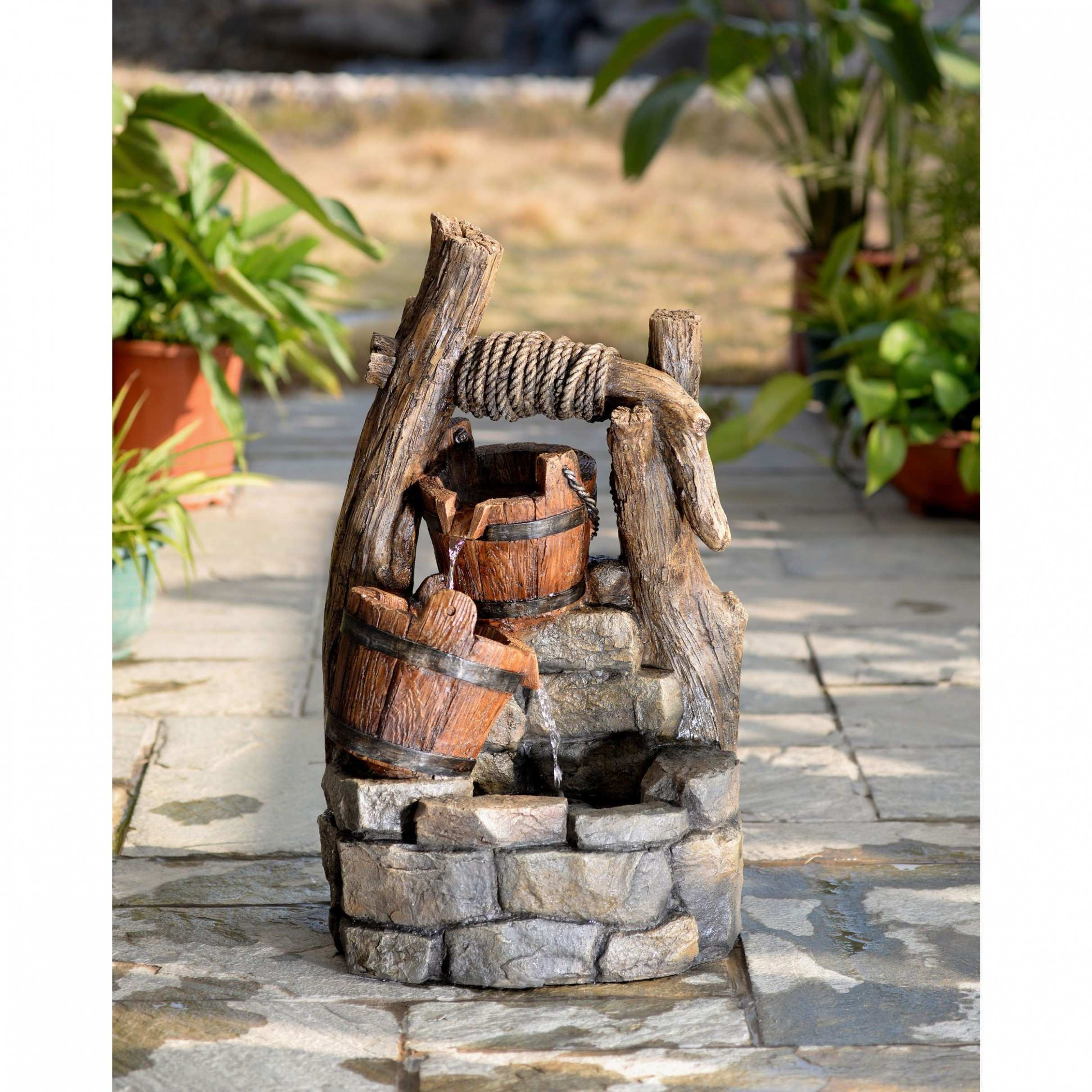 Fantastic Water Fountain Design Jeco Tree Trunk and Pots Water