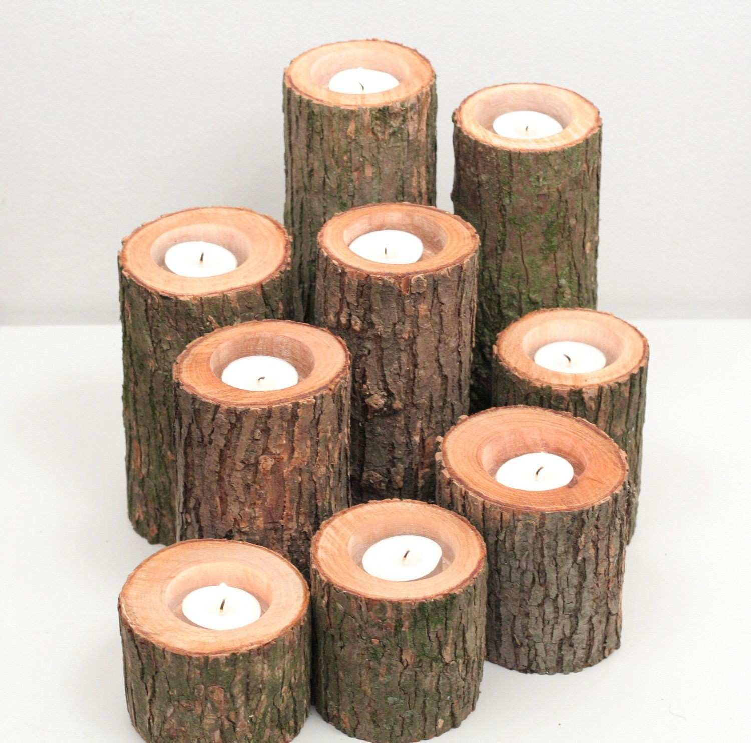Tree Branch Candle Holders I Rustic Wood Candle Holders Tree Slice