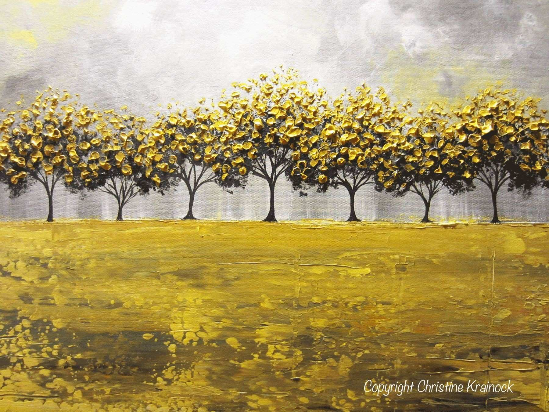 GICLEE PRINT Art Abstract Yellow Grey Painting Tree Landscape Canvas