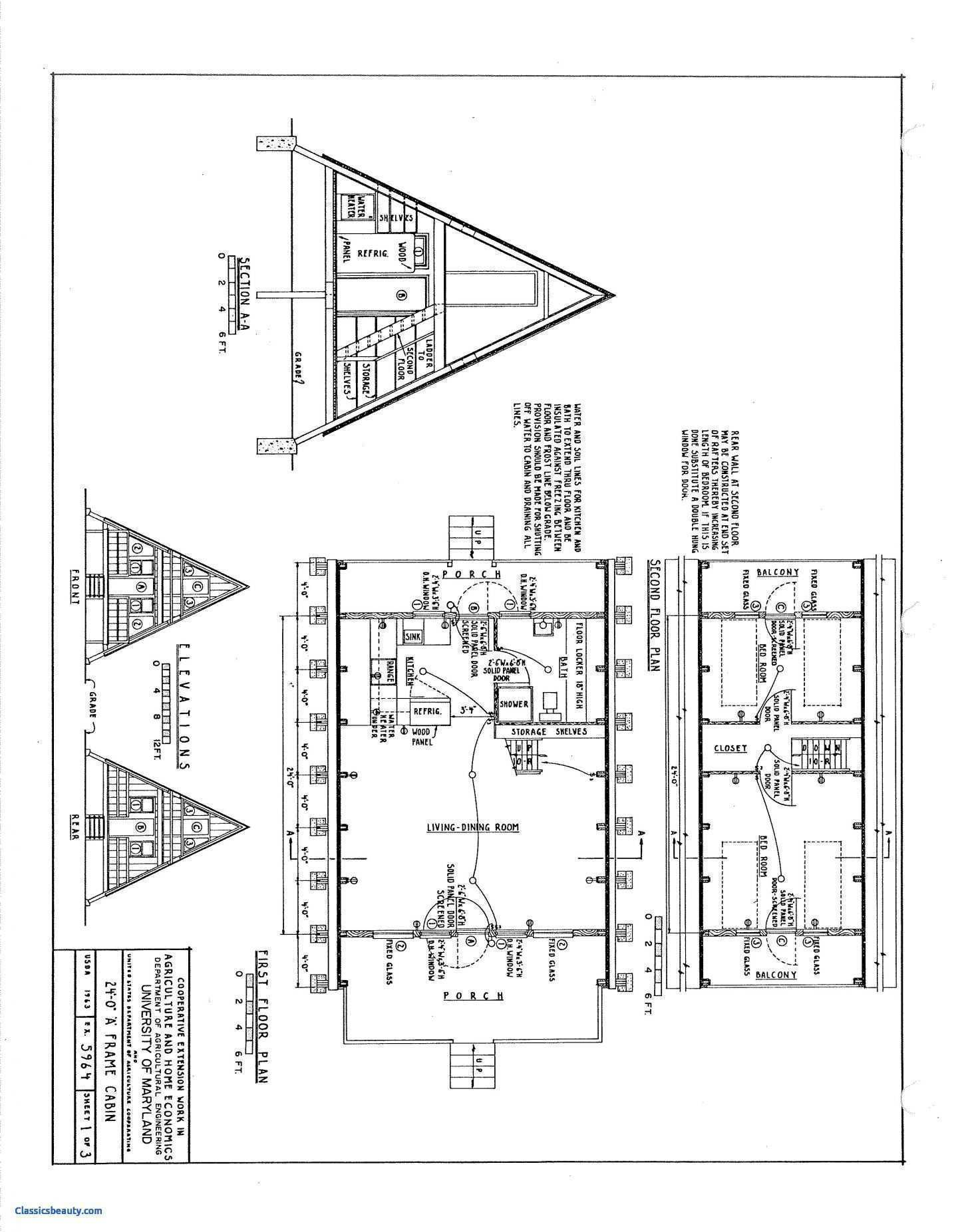 Free A Frame Cabin Plans 23 Luxury A Frame House Plans Free