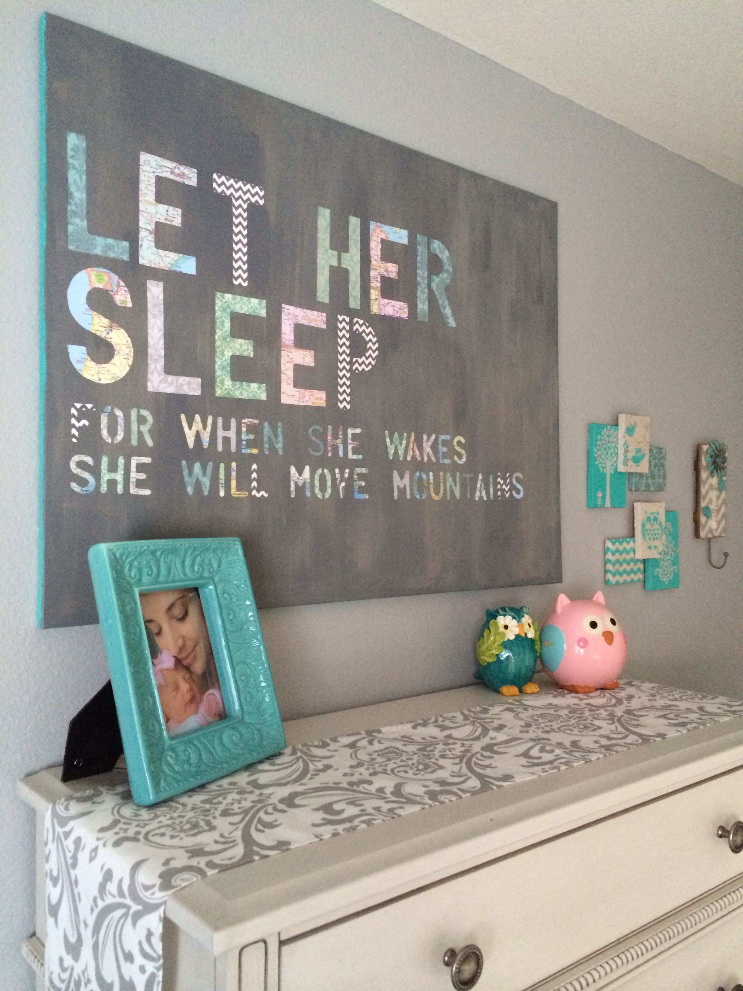 Kinslee s Nursery 3 Let Her Sleep DIY wall art made from stenciled
