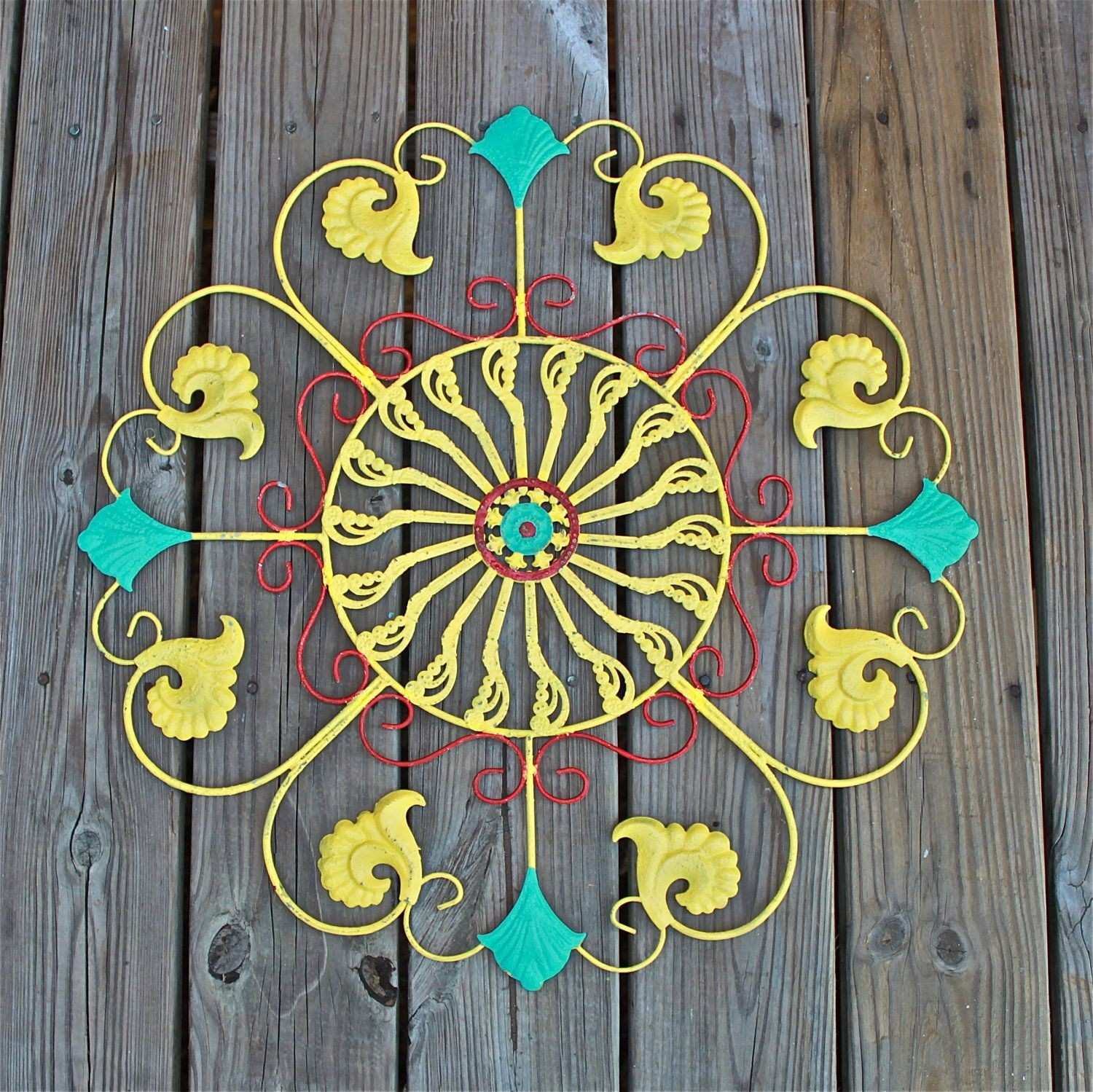Metal Wall Fixture Bright Yellow Teal Blue Red Distressed Patio