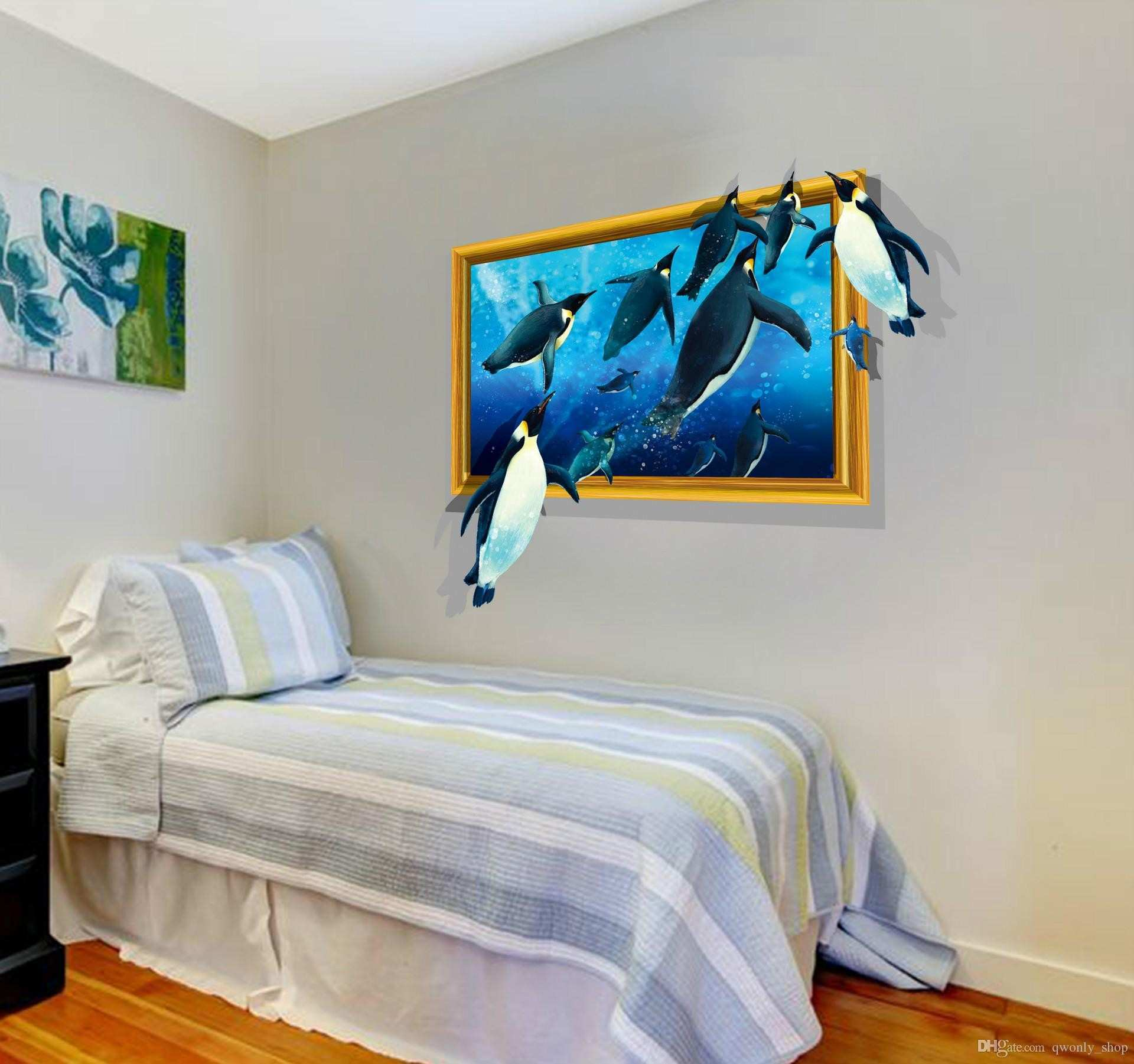 Sea Turtle Group Pattern Removable 3d Effect Wall Stickers For