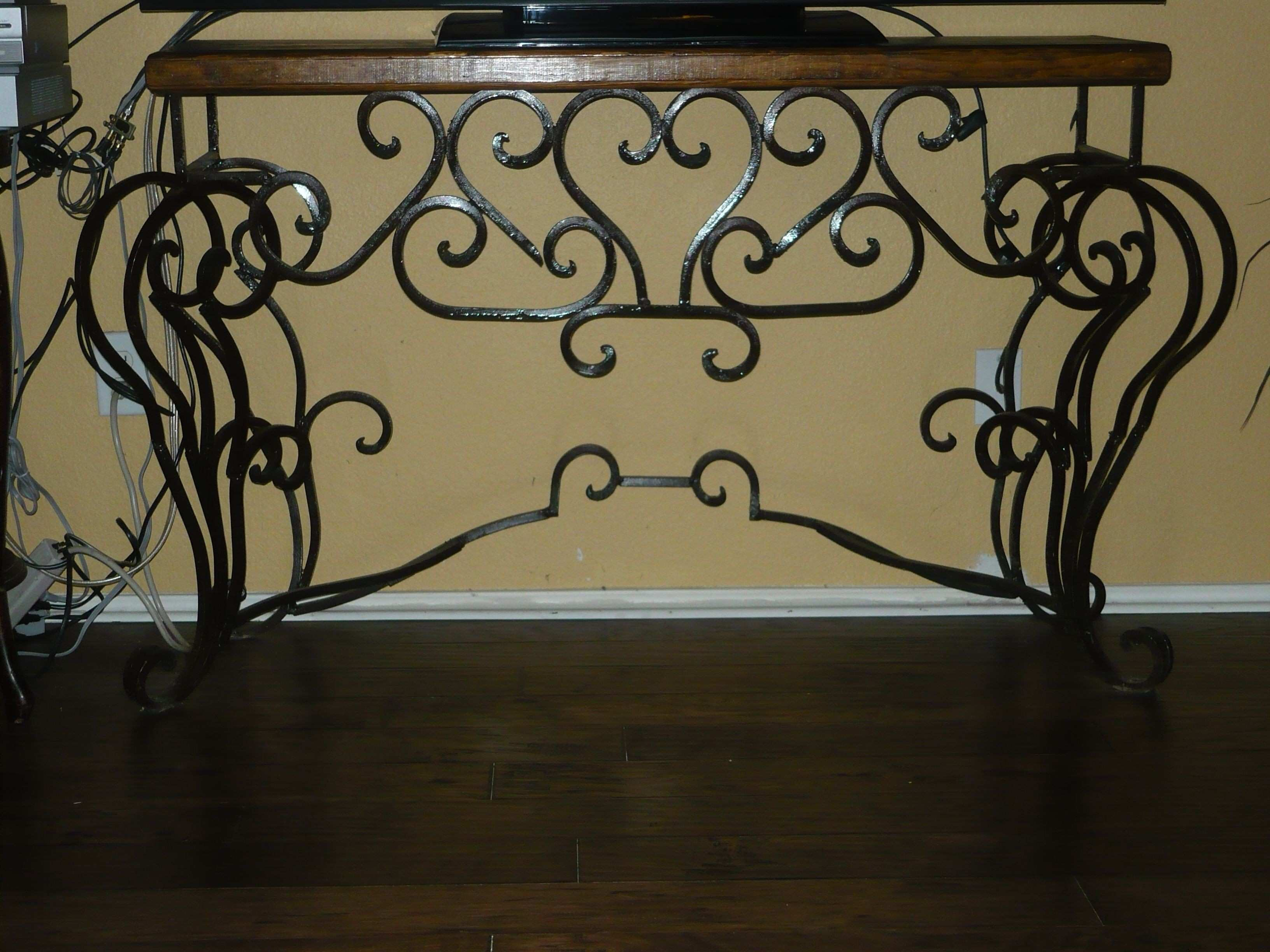 Iron Console table with scrolls Old World Spanish Rustic