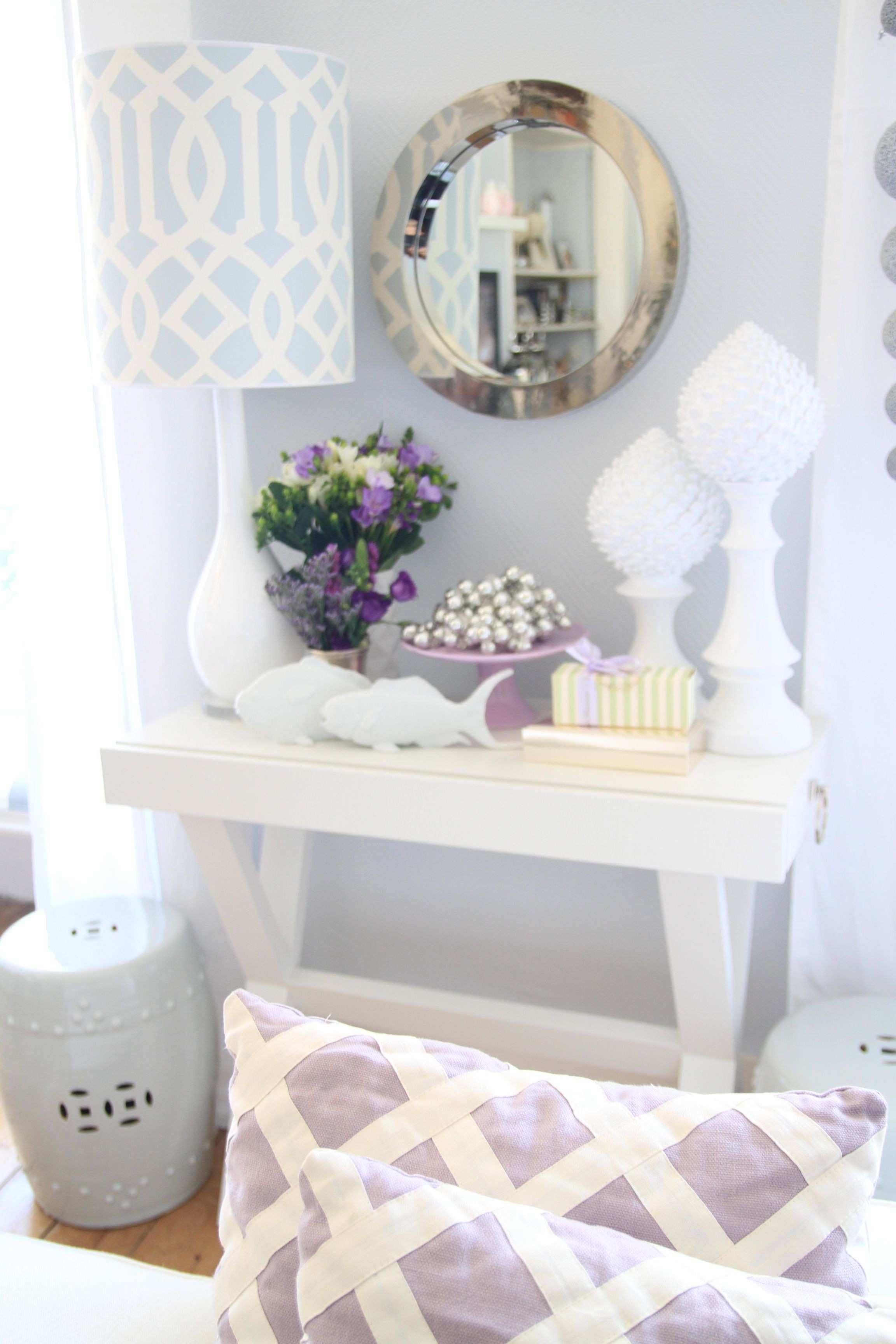 my living room bright airy grey walls white console table round