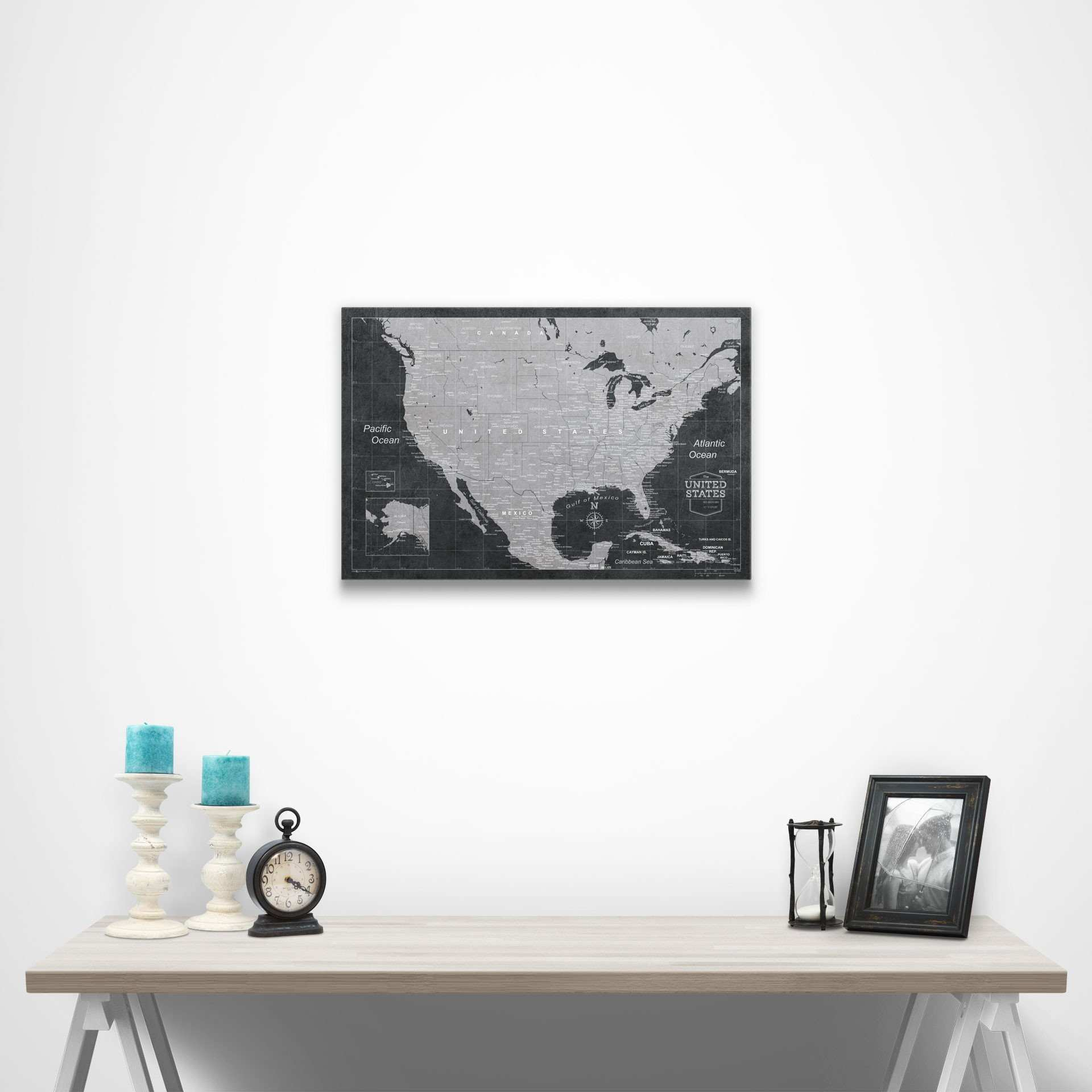 Black and white us map canvas