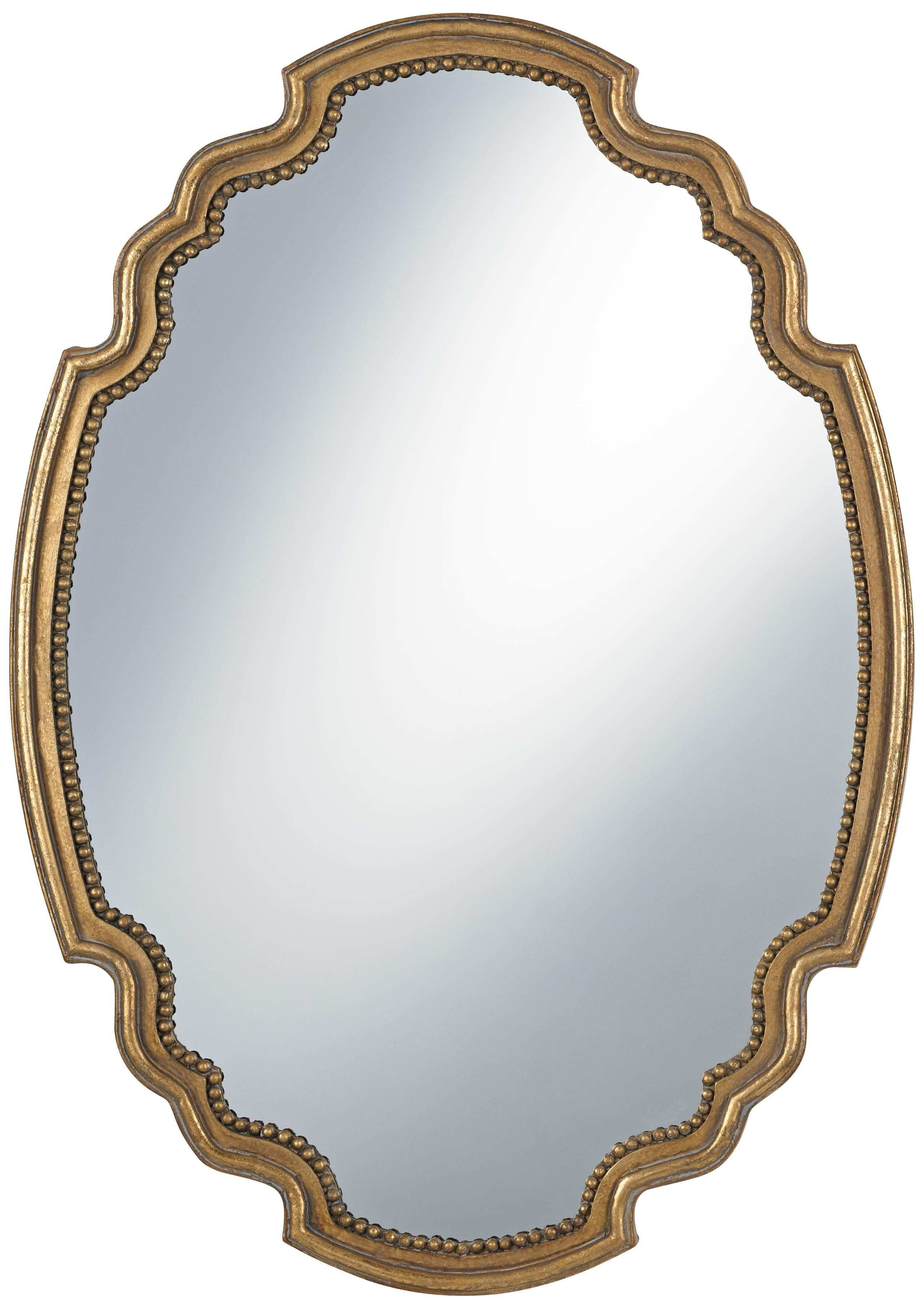 "Uttermost Terelle Antique Gold 39"" High Oval Wall Mirror"