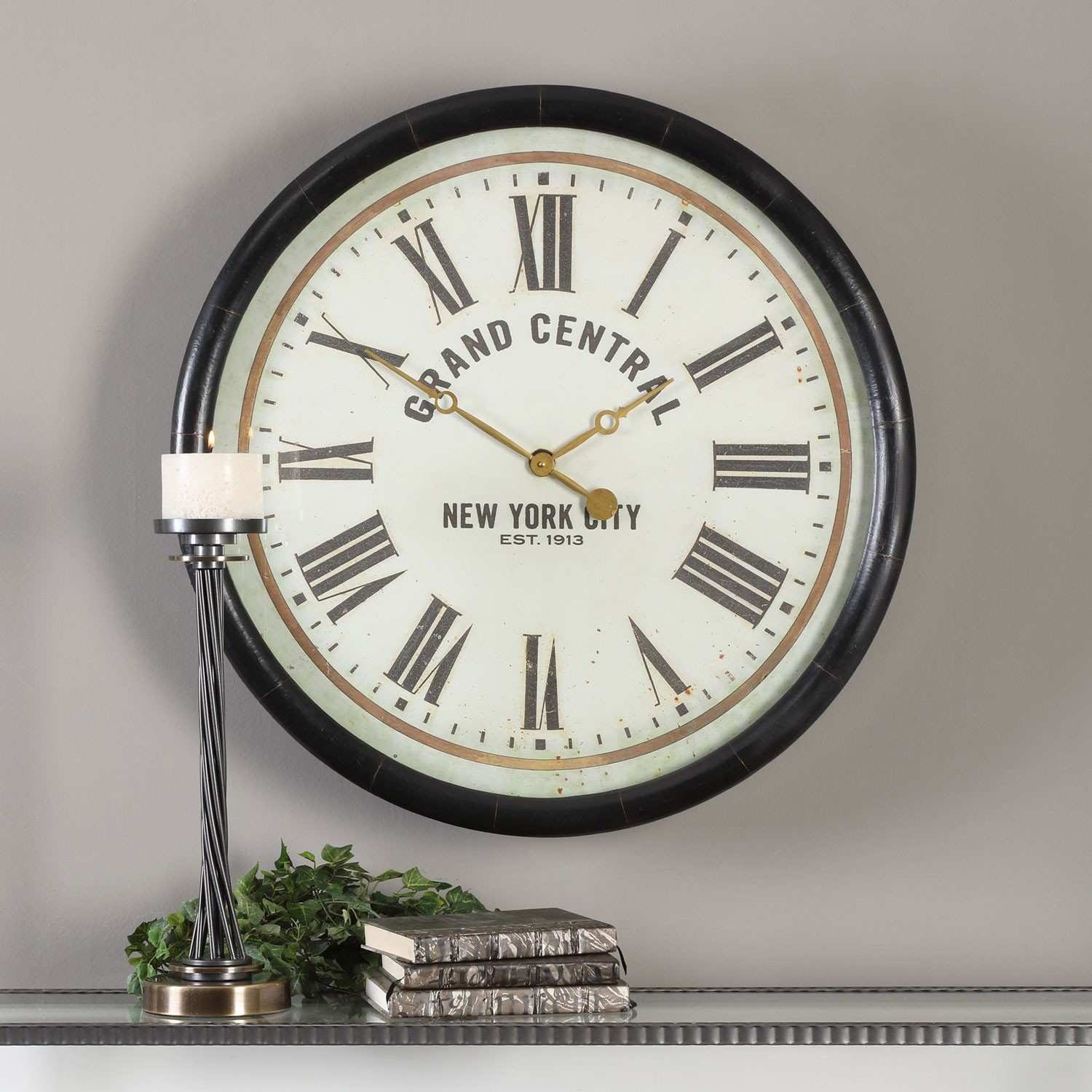 Uttermost Leonor Grand Central Wall Clock Design Brushed Nickel