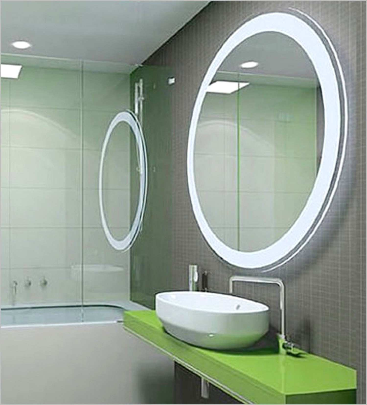 Traditional Lights Around It Innovation Lighted Bathroom Wall Mirror
