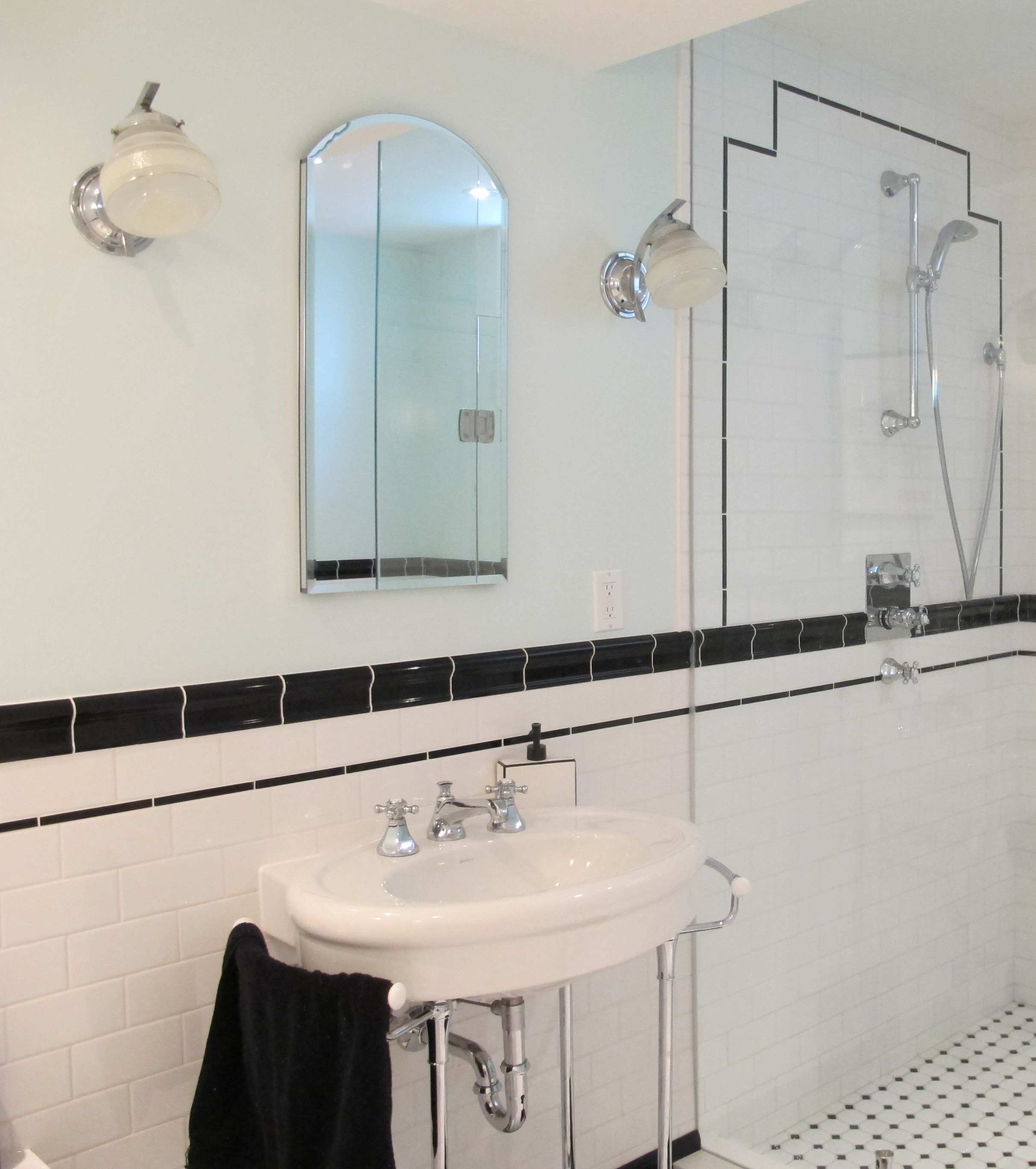 Art Deco Bathroom Lighting Awesome Scenic Black and White Vintage