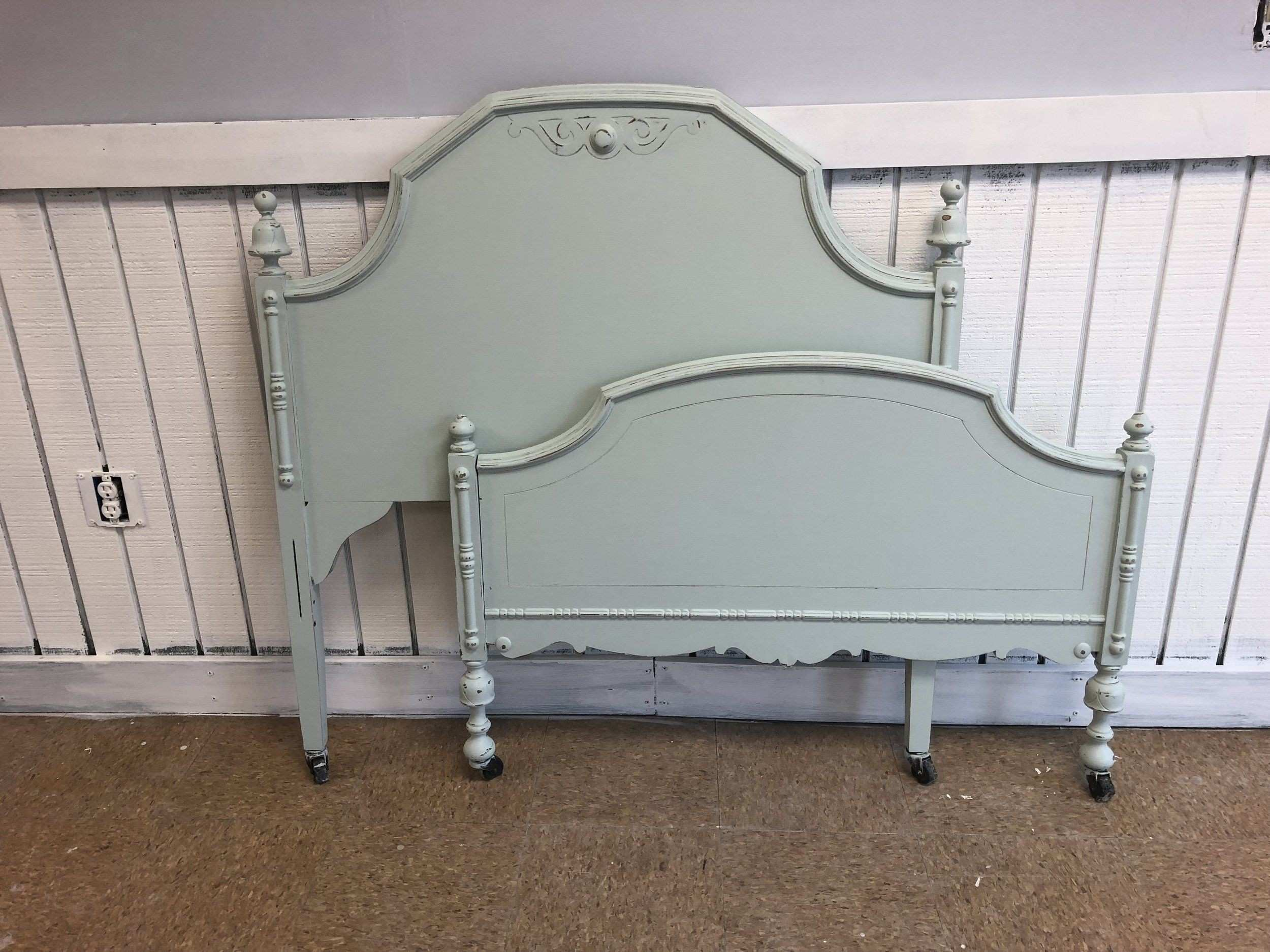 Shabby Chic Antique Child s Twin Bed Frame Aqua Green Blue