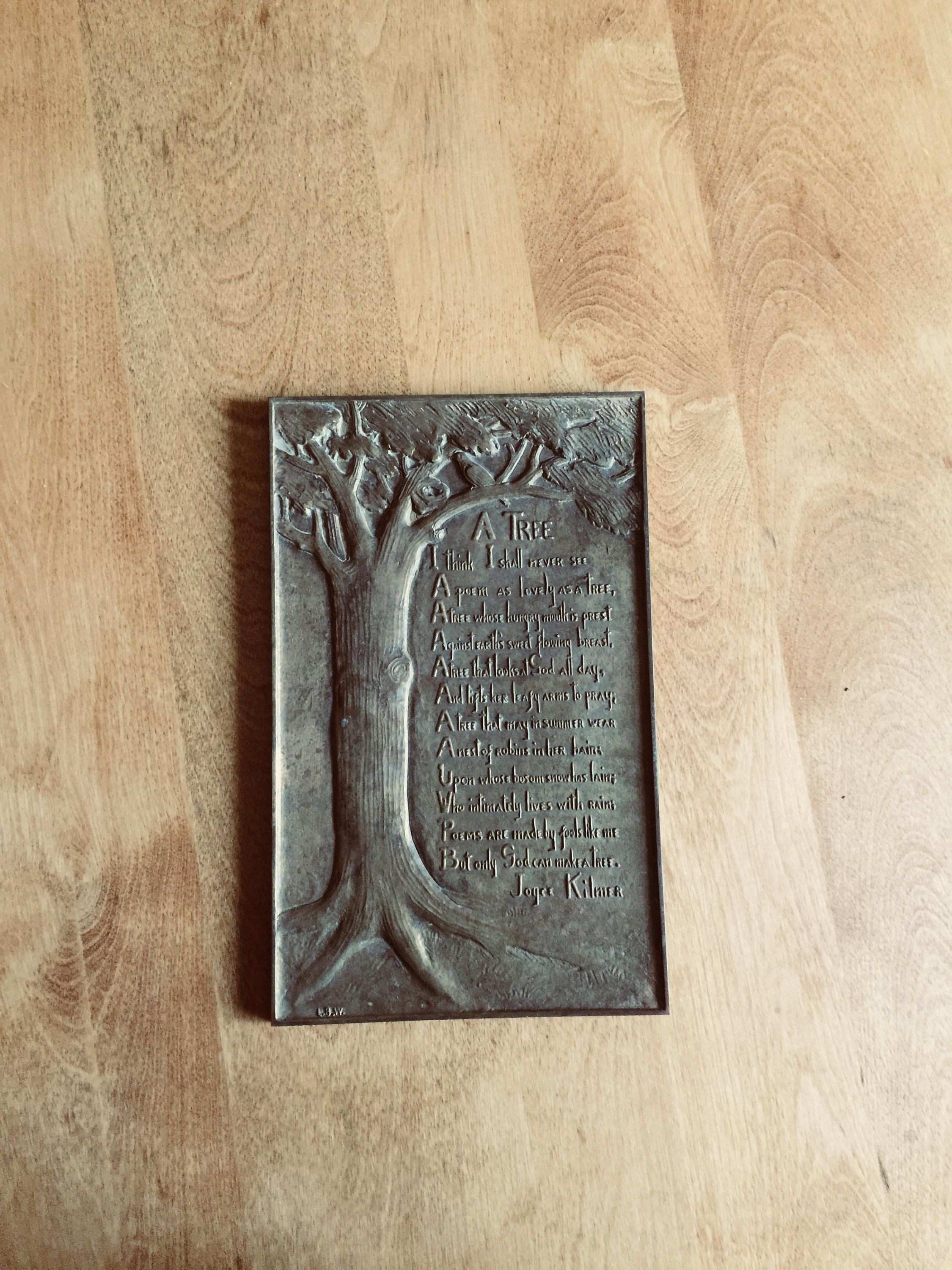 Antique Bronze Plaque Joyce Kilmer Poem A Tree Signed LBW Art