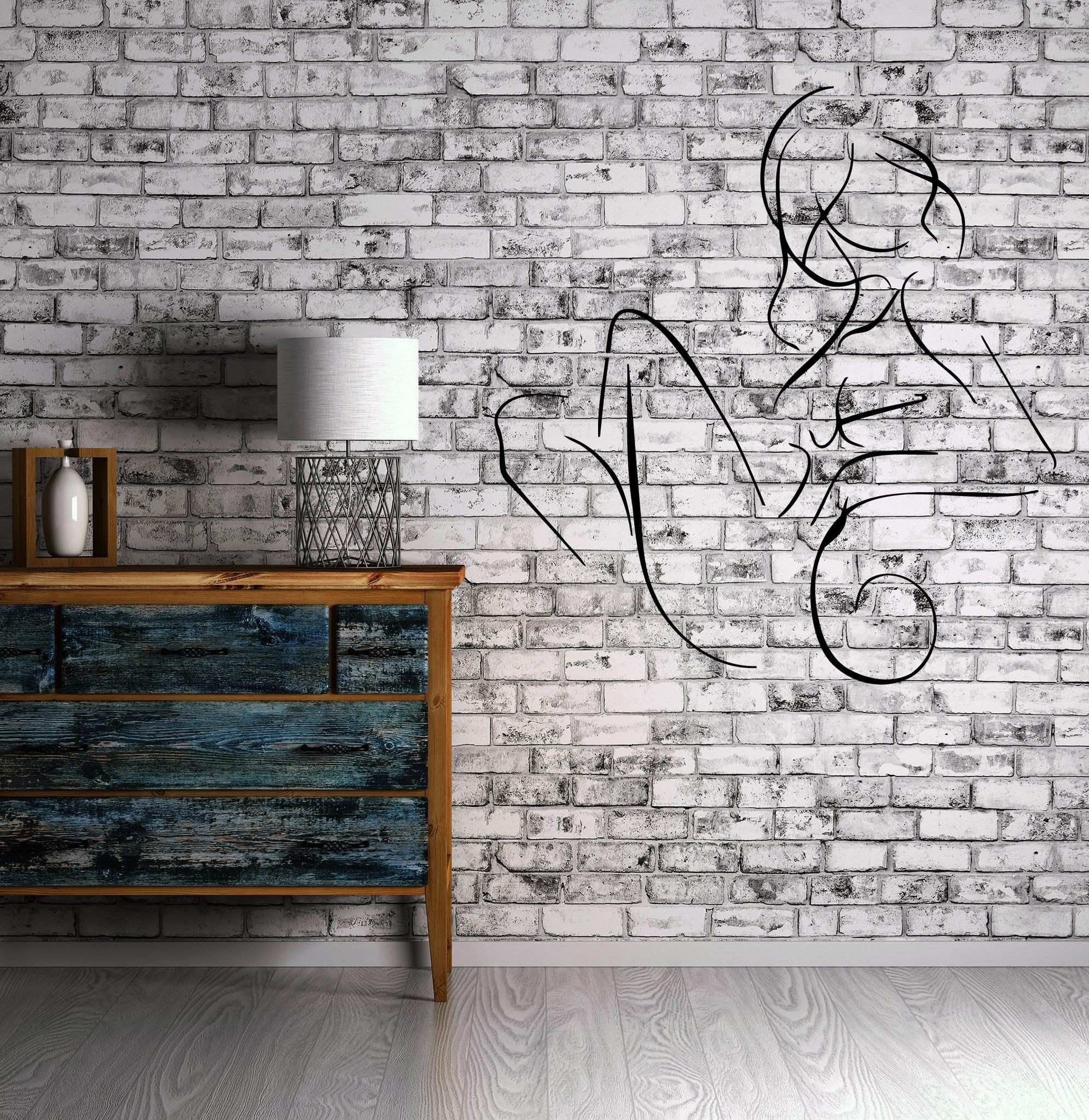 y Young Girl Naked Body Sketch Wall Decor Mural Vinyl Decal Art