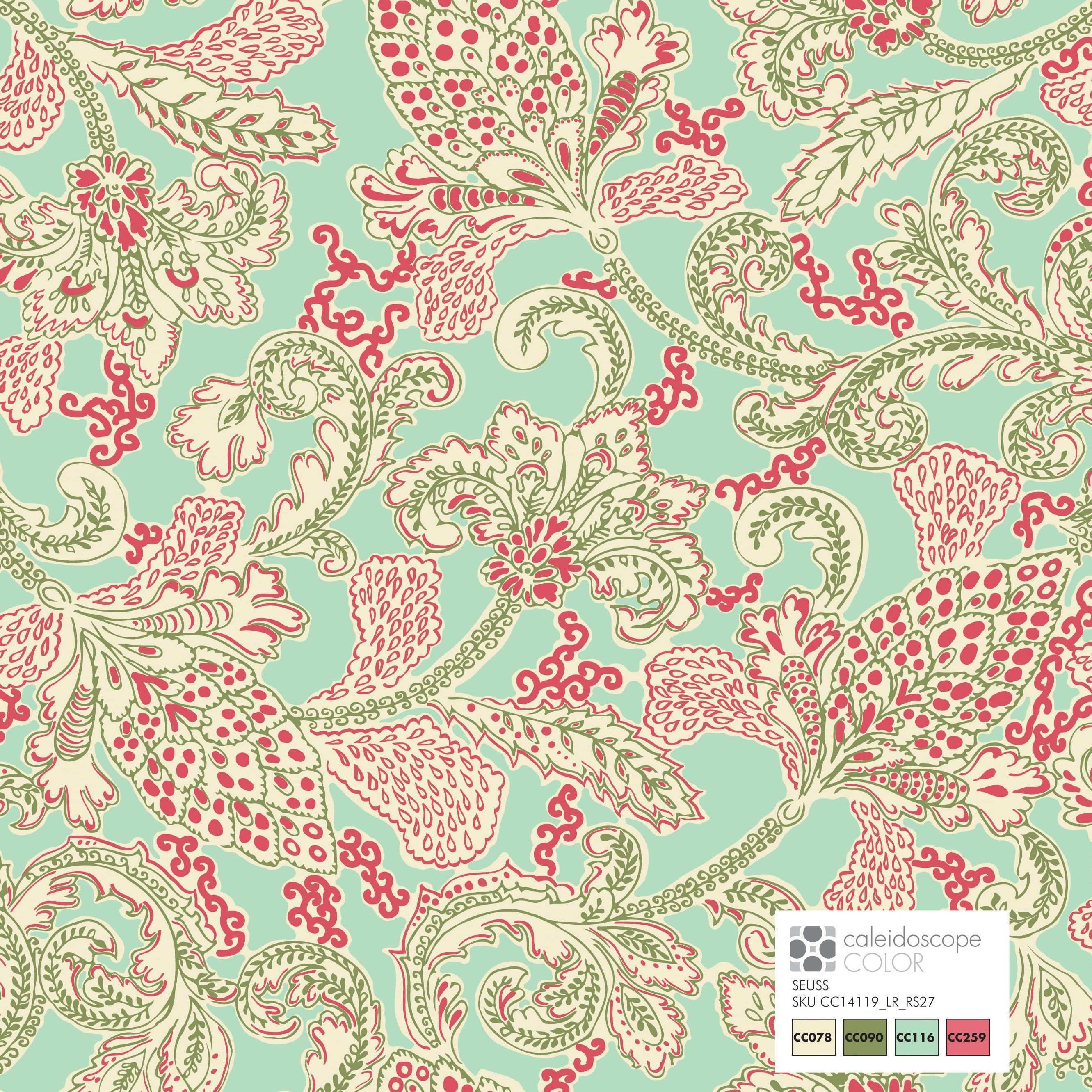 SUESS design digital artwork rose available in cotton sateen