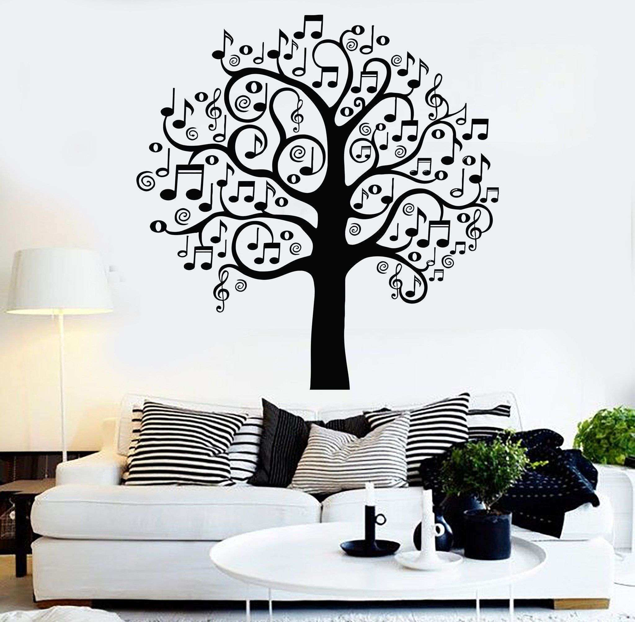 Wall Decor Stickers for Bedroom New Vinyl Wall Decal Musical Tree