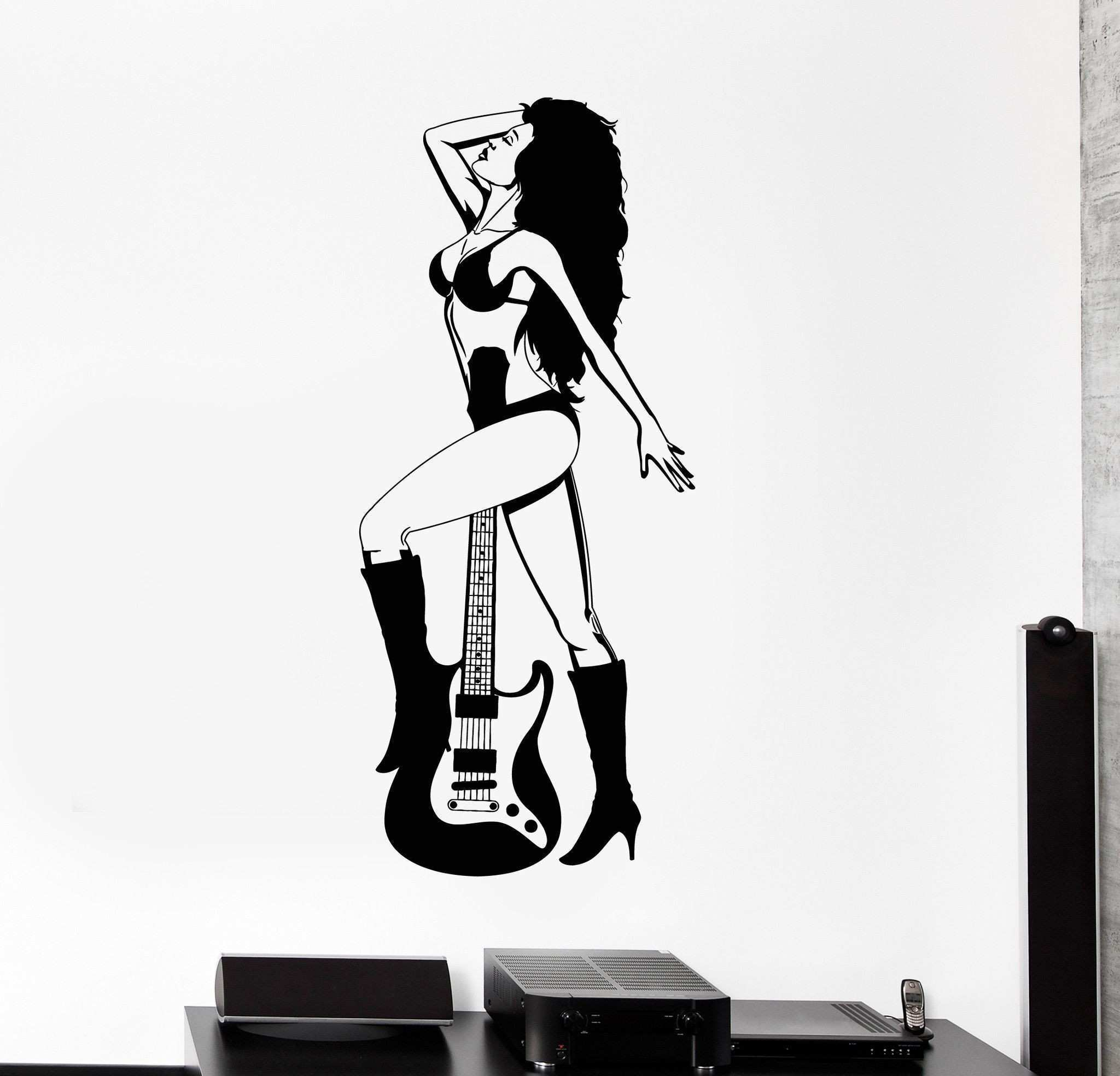 Vinyl Wall Clings Elegant Vinyl Wall Decal Y Rock Woman Girl Guitar Music Stickers Mural