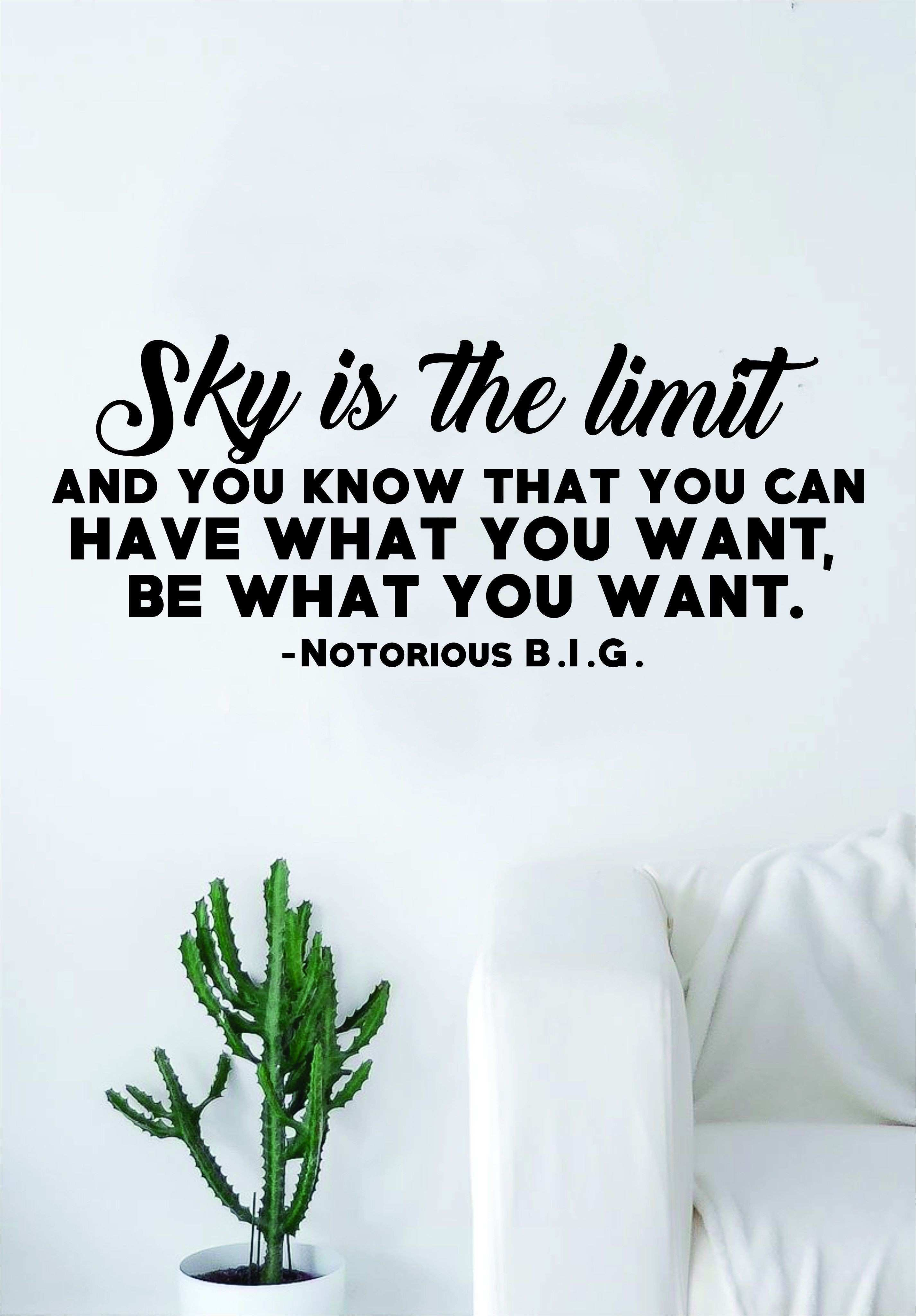 Sky is the Limit Quote Wall Decal Sticker Room Art Vinyl Rap Hip Ho