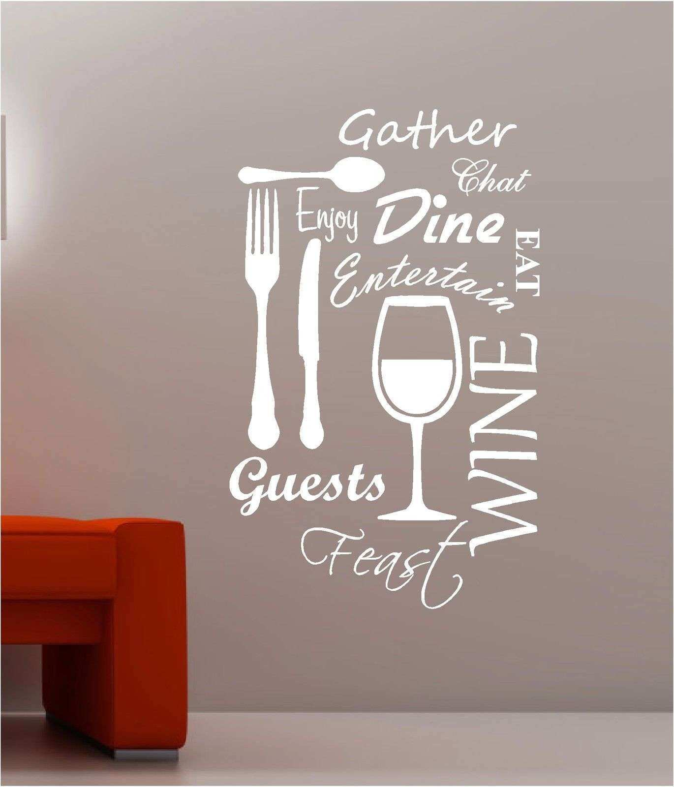 B43 Kitchen Word Vinyl Wall Art Stickers Dining Food Wine Quotes