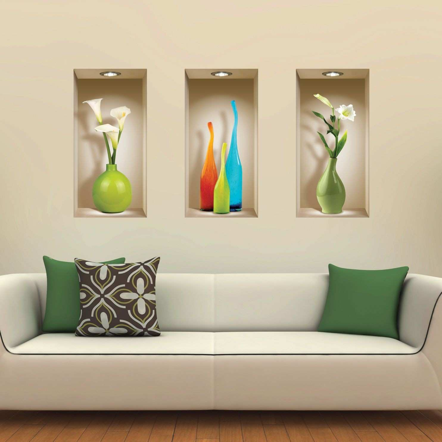 Set 3 Art Wall Sticker 3D Decals Picture Removable Home Decor Vinyl