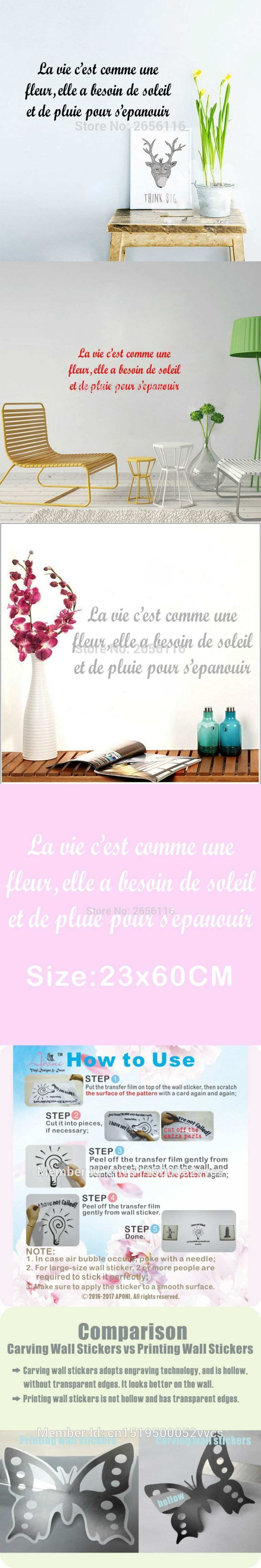 French Quotes wall decal for living room Wall Stickers Life is Like