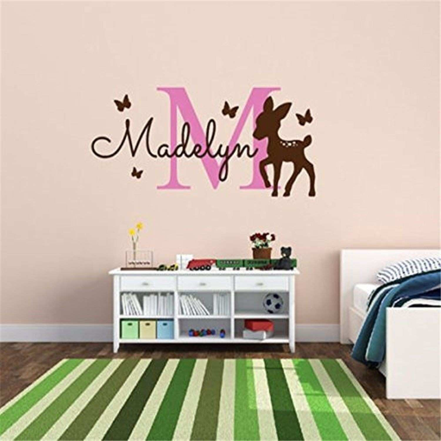 Lovely Personalized monogram name home decal with deer vinyl wall